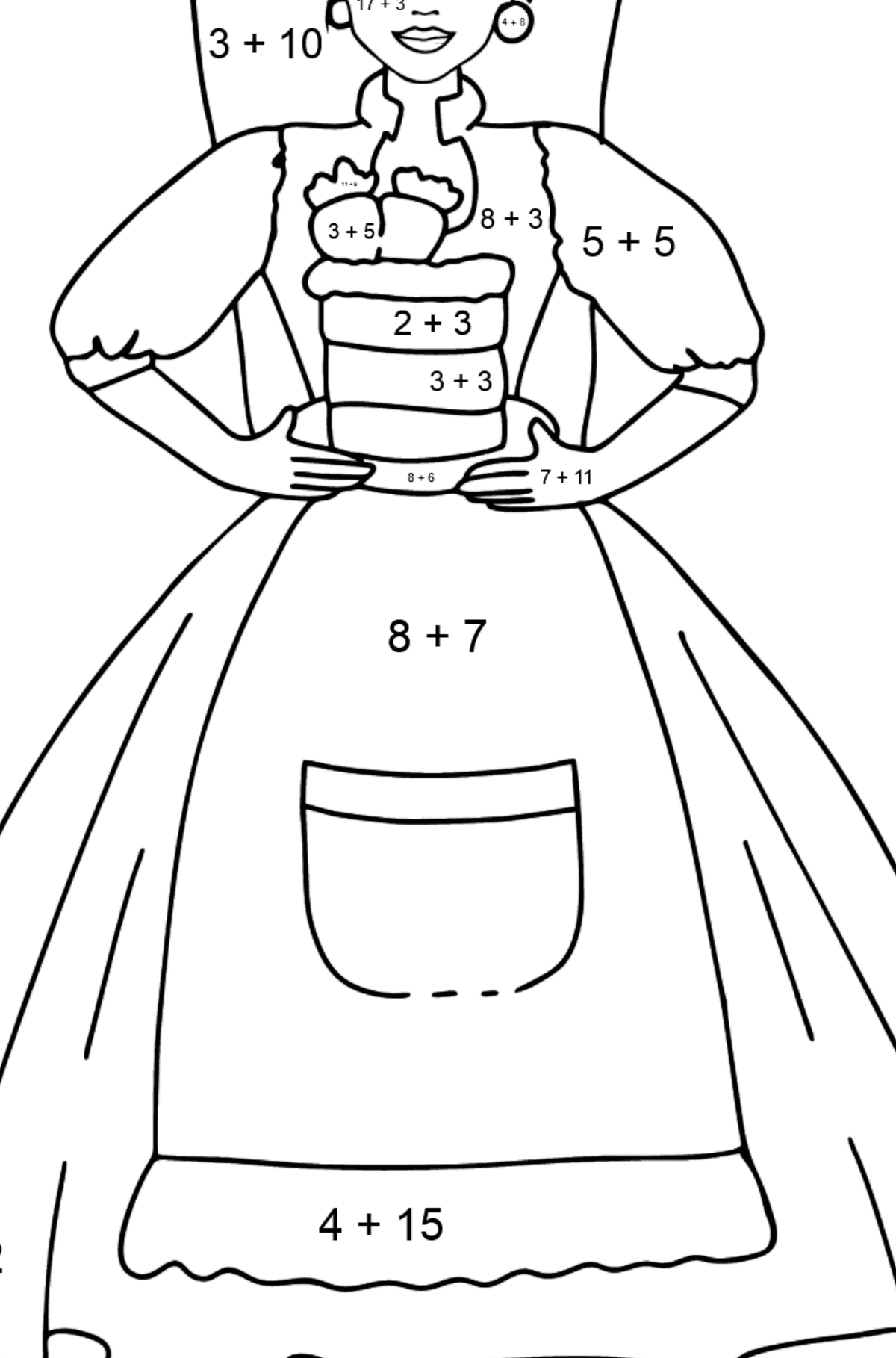 Barbie Doll and Cake coloring page - Math Coloring - Addition for Kids