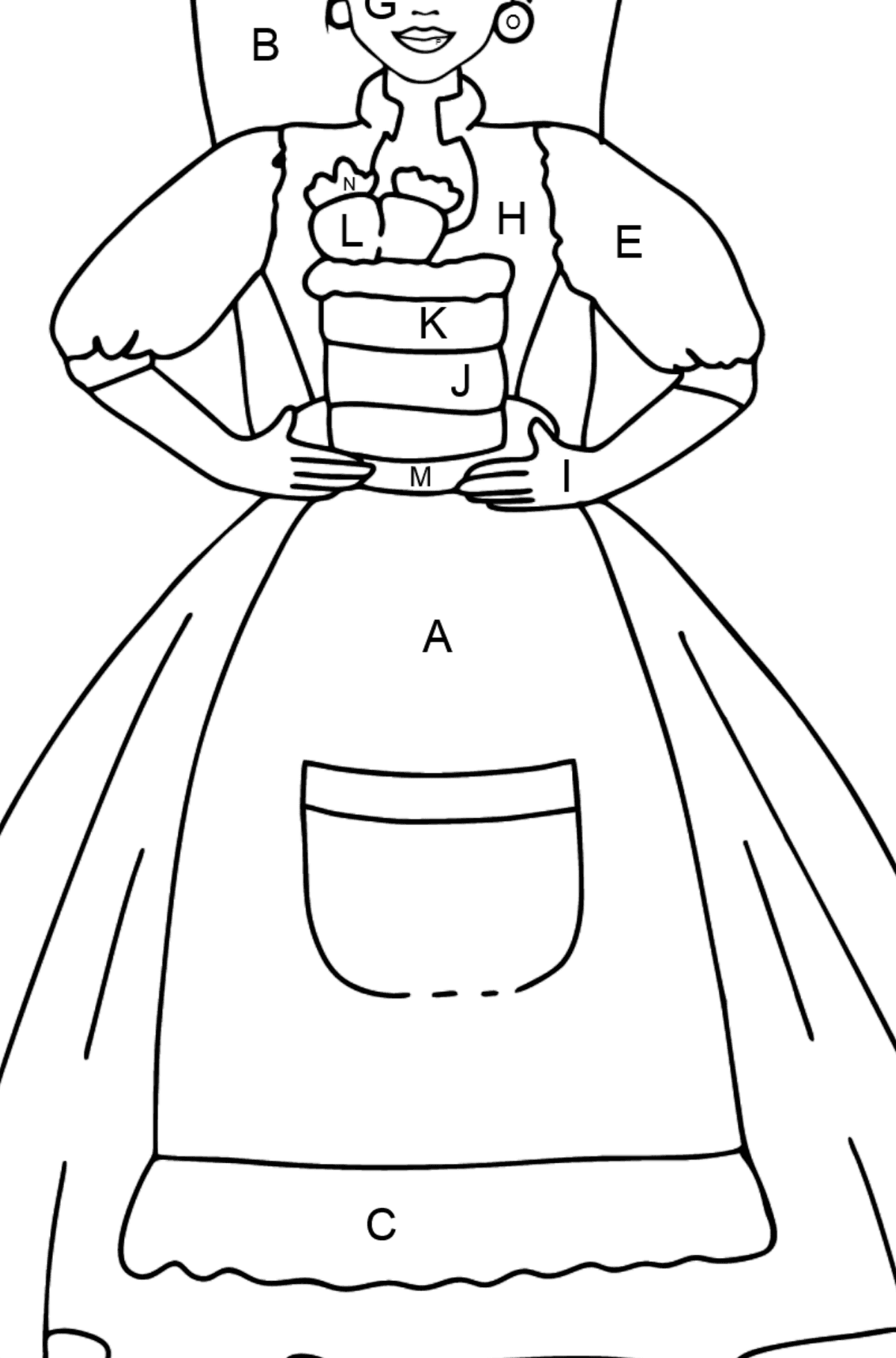 Barbie Doll and Cake coloring page - Coloring by Letters for Kids