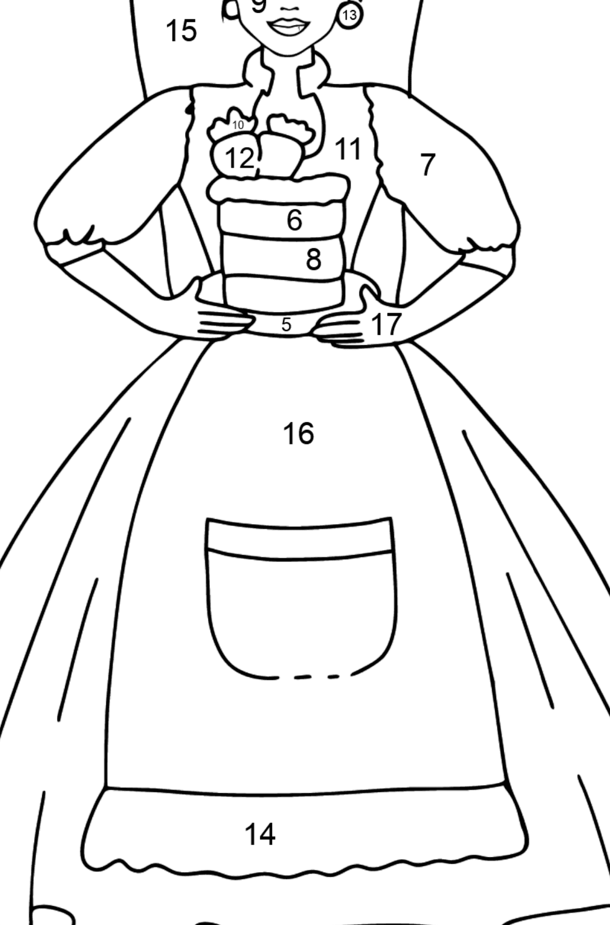 Barbie Doll and Cake coloring page - Coloring by Numbers for Kids