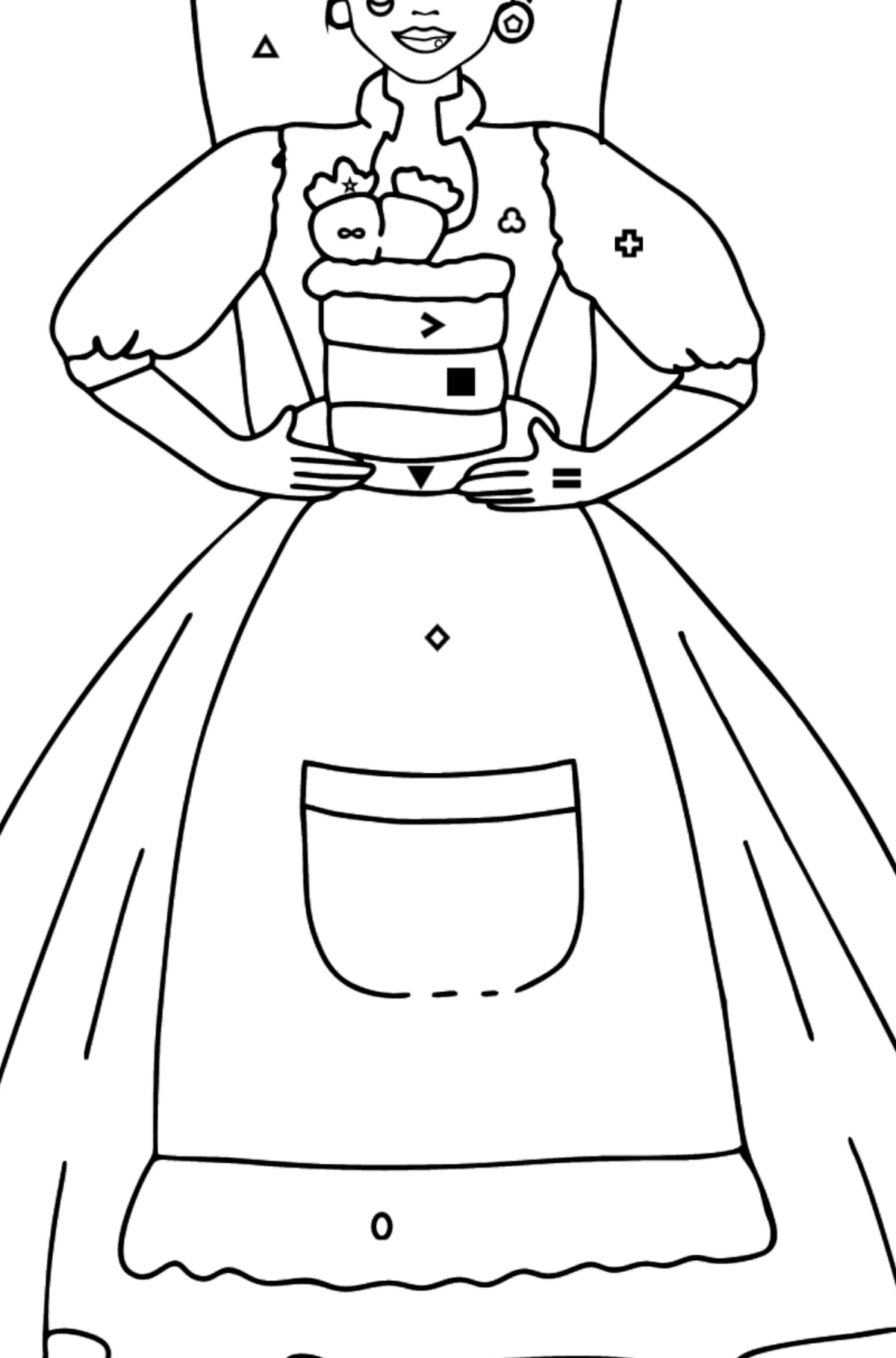 Barbie Doll and Cake coloring page - Coloring by Symbols and Geometric Shapes for Kids