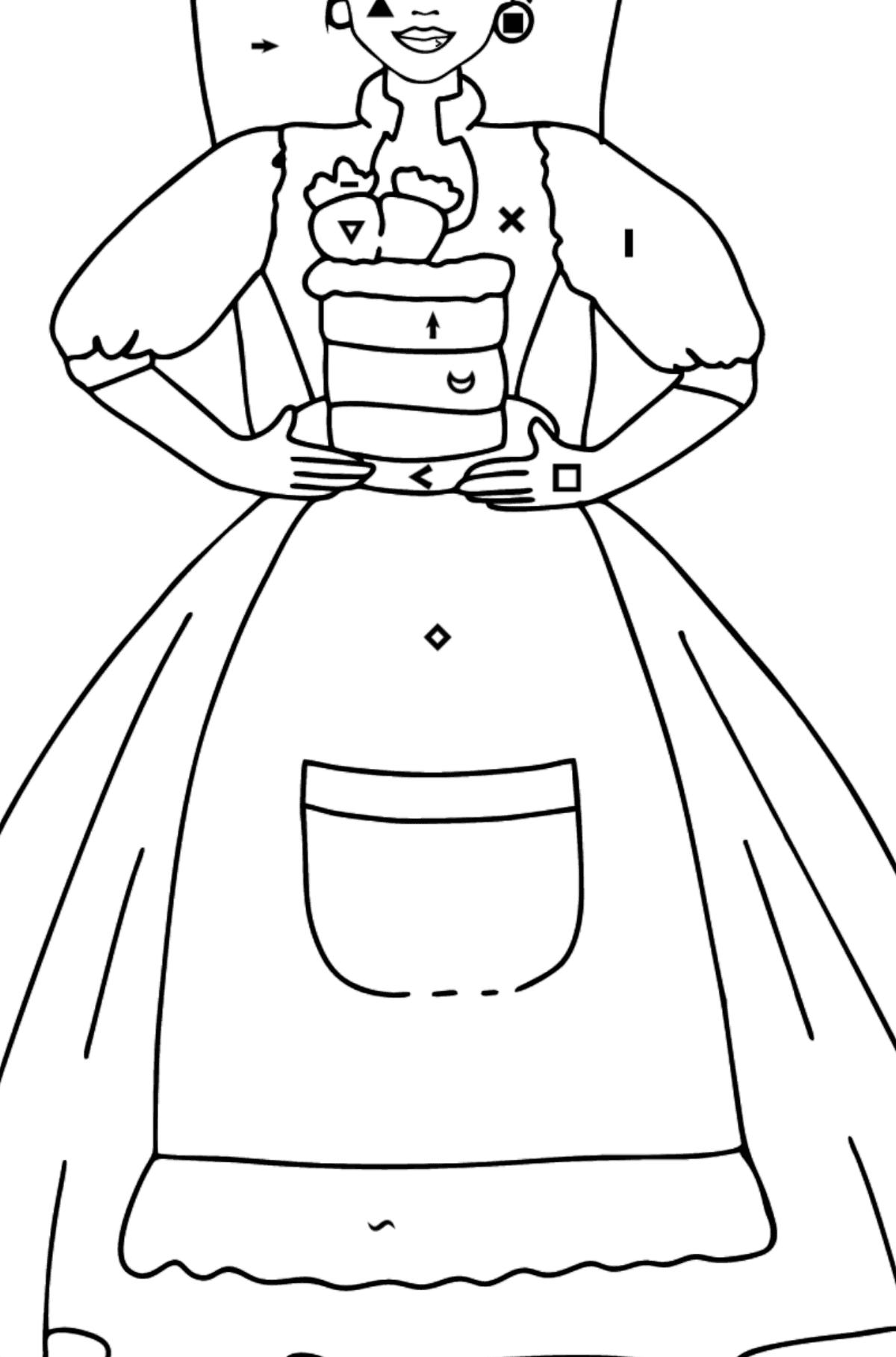 Barbie Doll and Cake coloring page - Coloring by Symbols for Kids