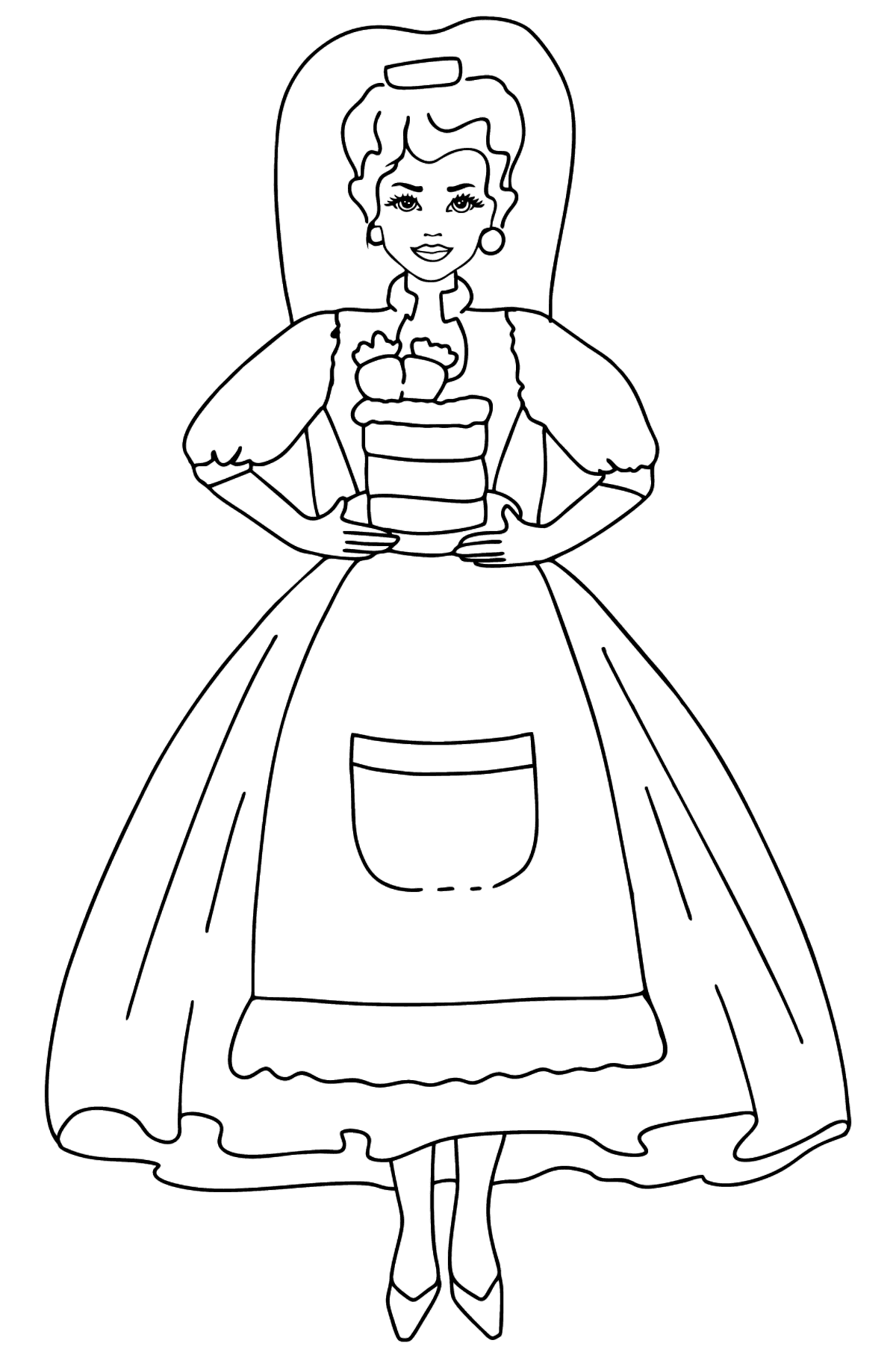 Barbie Doll and Cake coloring page - Coloring Pages for Kids