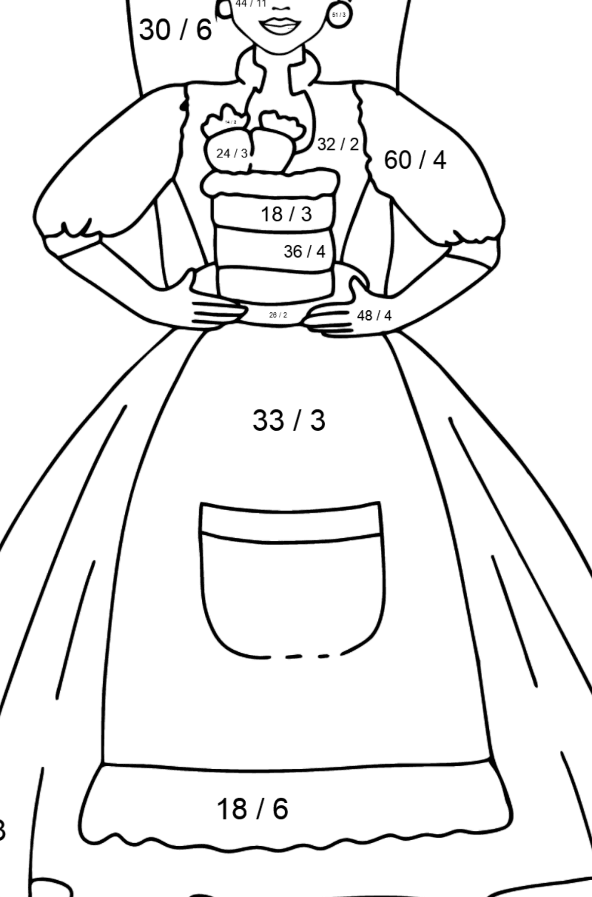 Barbie Doll and Cake coloring page - Math Coloring - Division for Kids