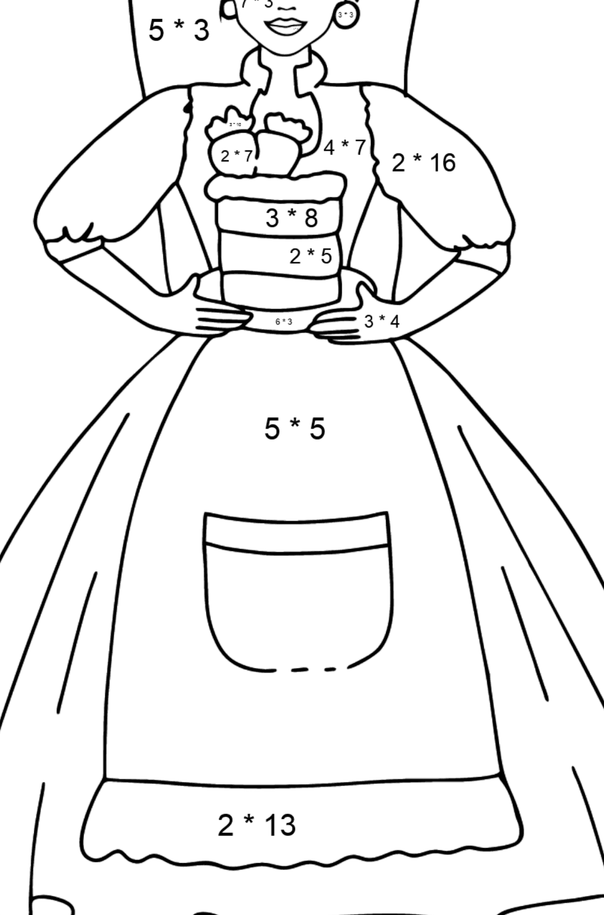 Barbie Doll and Cake coloring page - Math Coloring - Multiplication for Kids