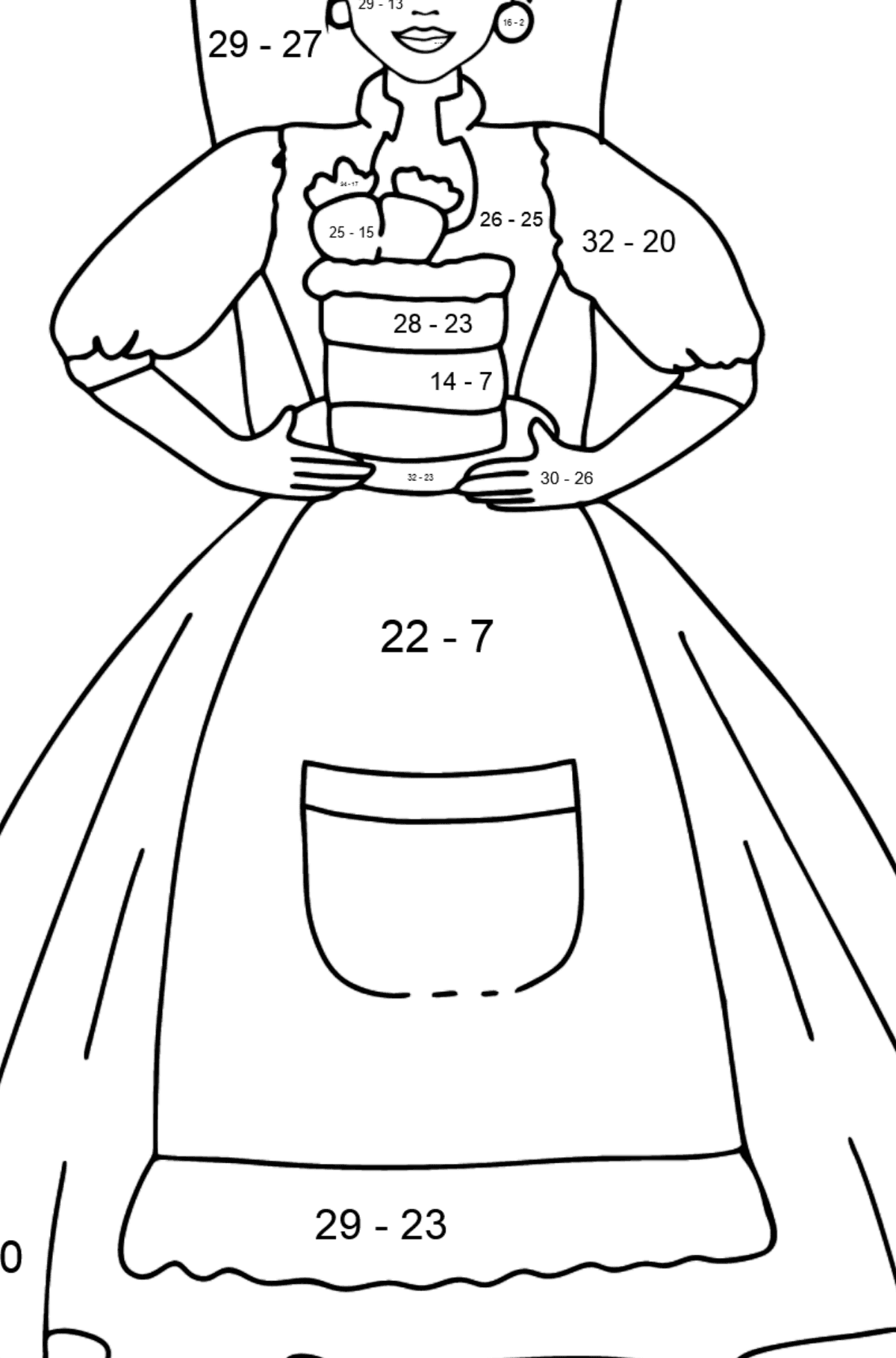 Barbie Doll and Cake coloring page - Math Coloring - Subtraction for Kids