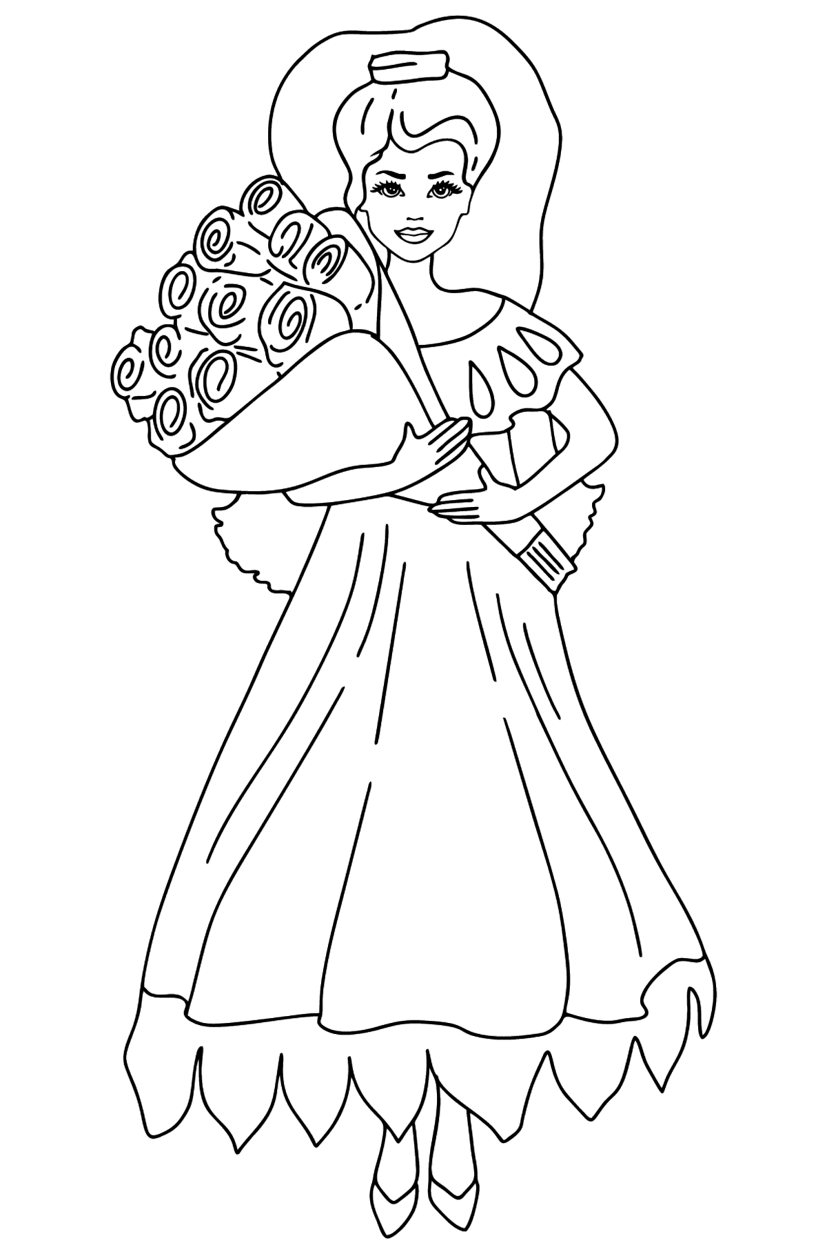Barbie Doll and a Bouquet of Roses coloring page - Coloring Pages for Kids