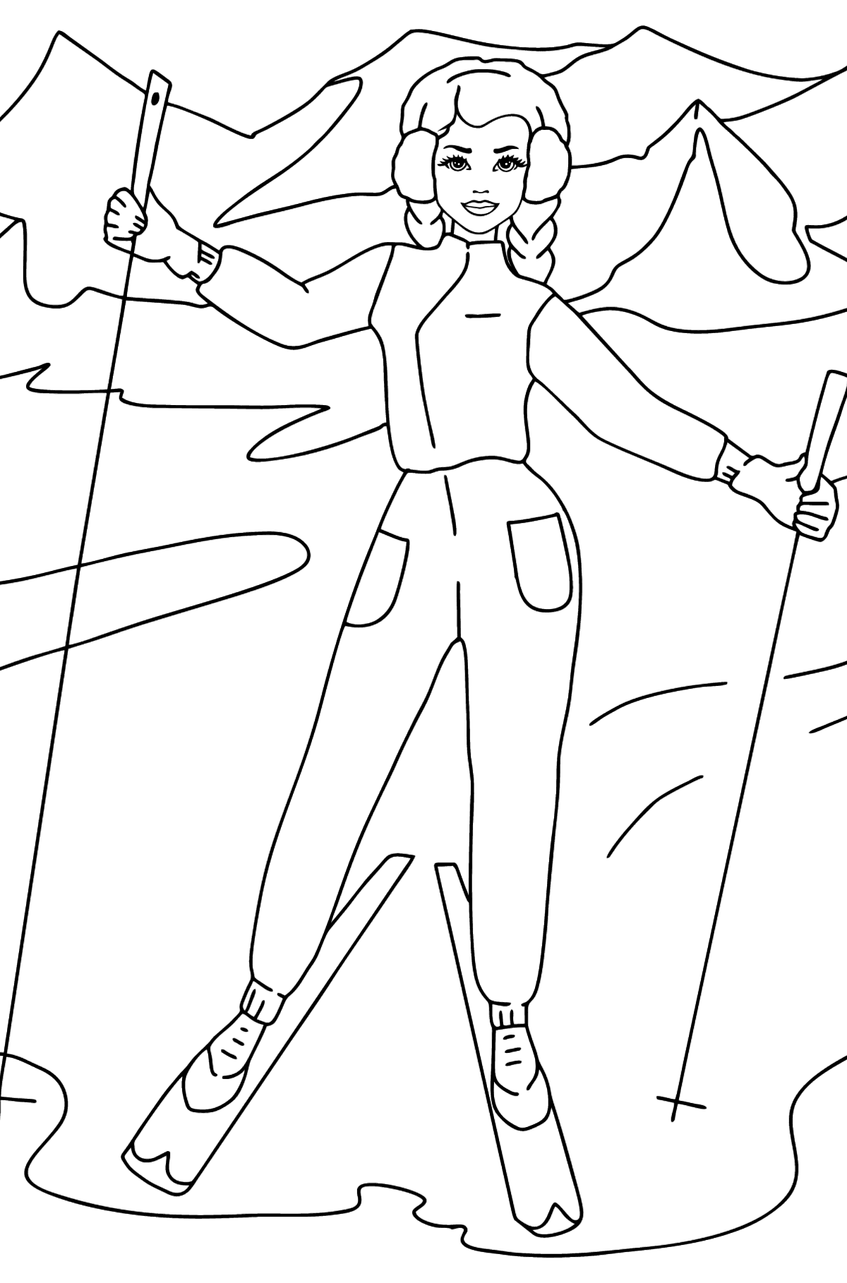 Barbie Doll in a Ski Resort coloring page - Coloring Pages for Kids