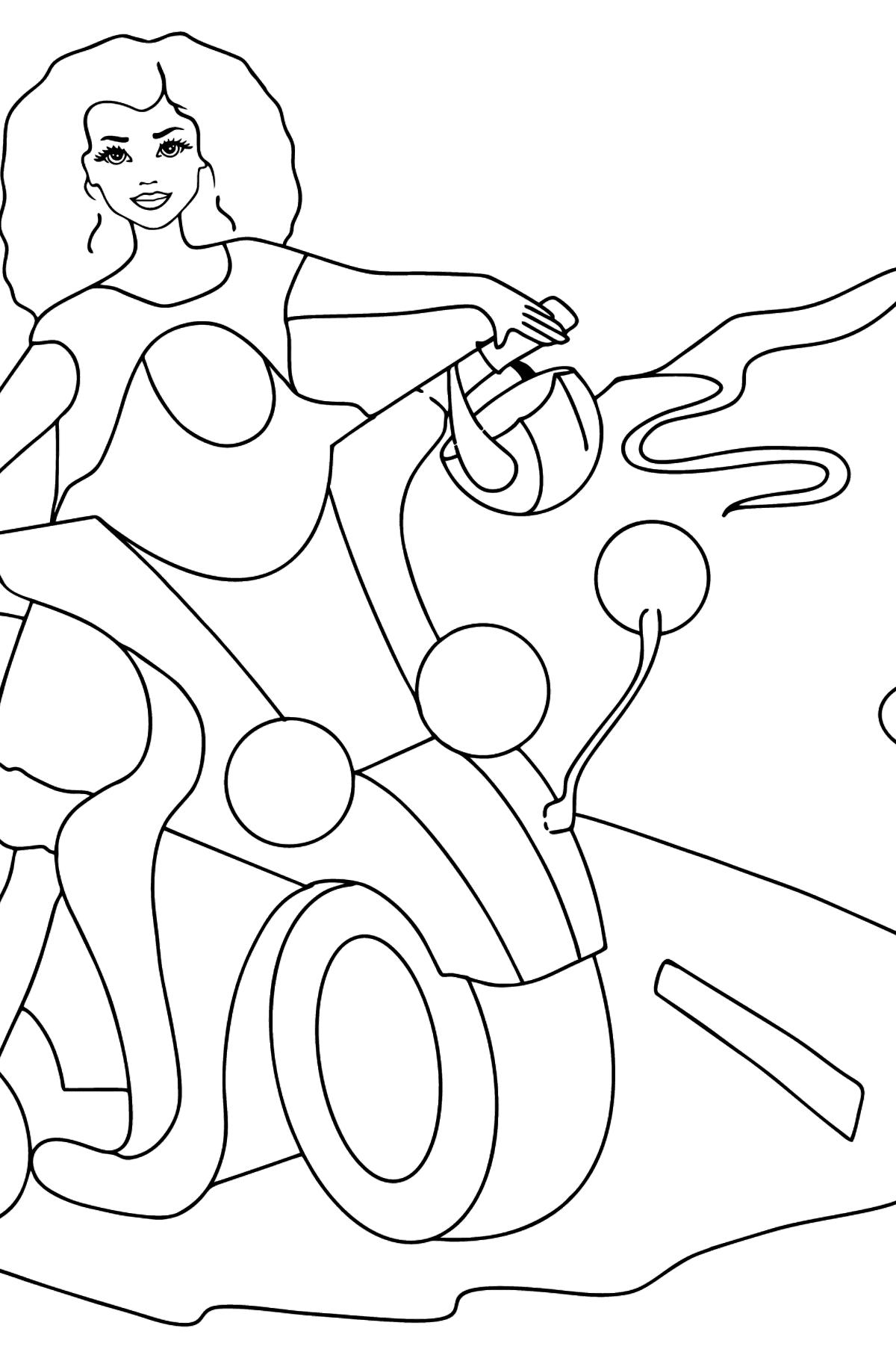 Раскраска кукла Барби на мотоцикле - Картинки для Детей