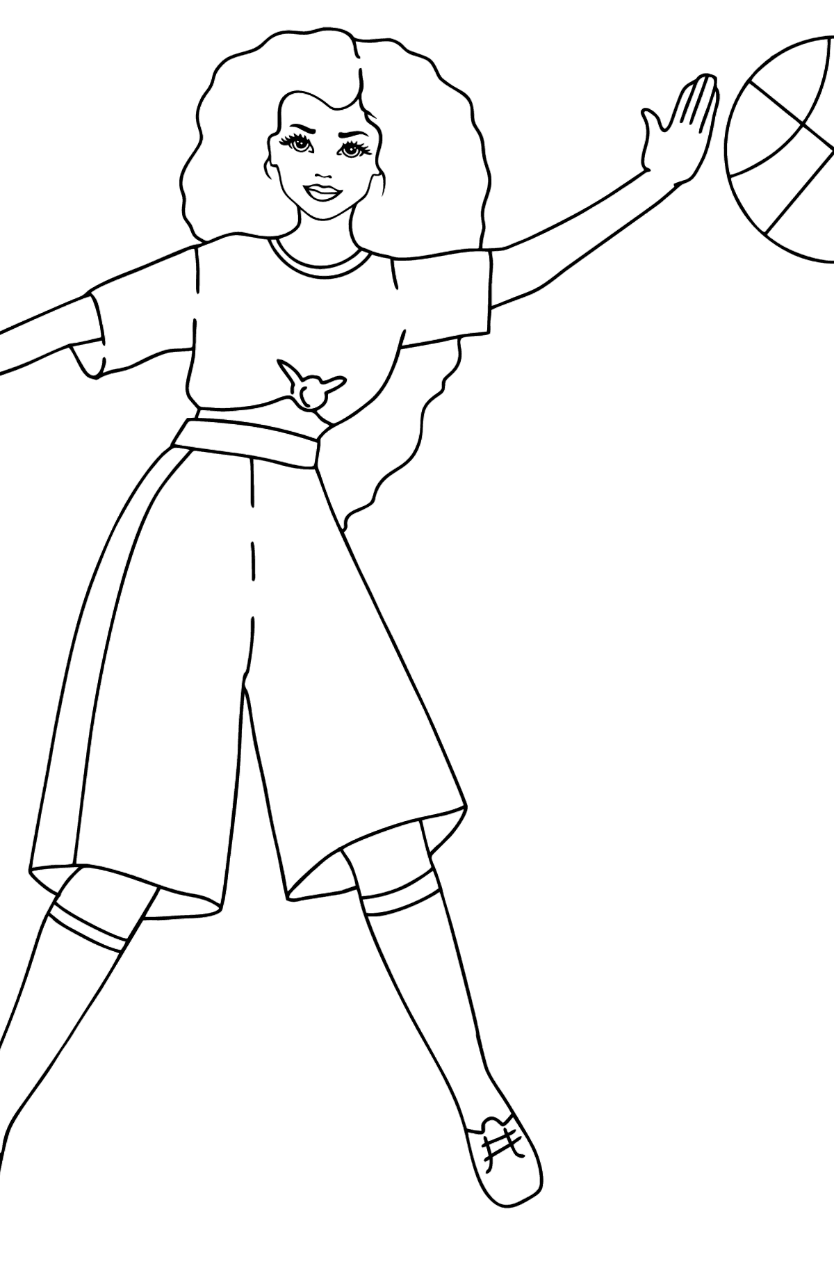 Barbie Doll Playing Volleyball coloring page - Coloring Pages for Kids