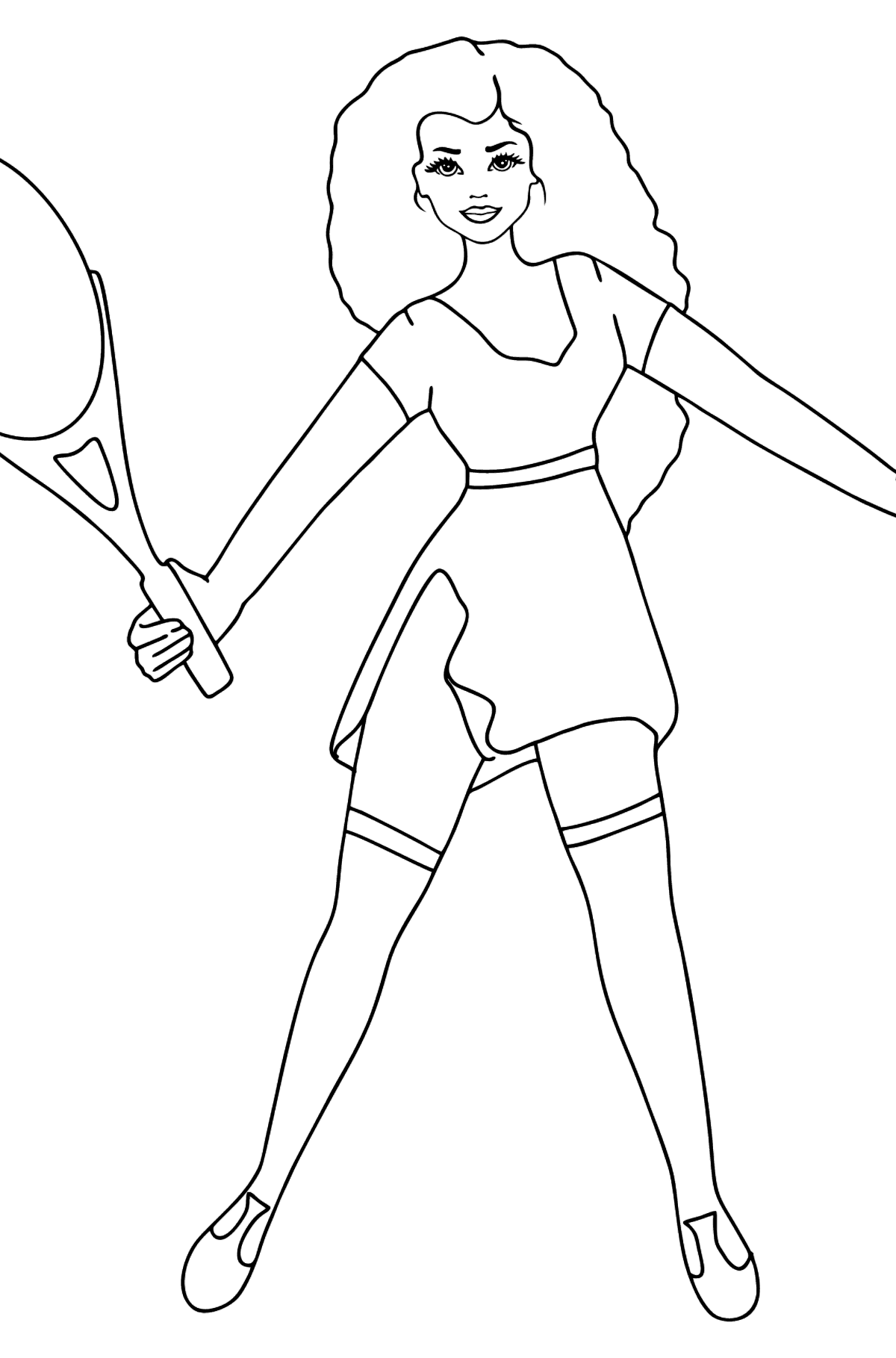 Barbie Doll Playing Tennis coloring page - Coloring Pages for Kids