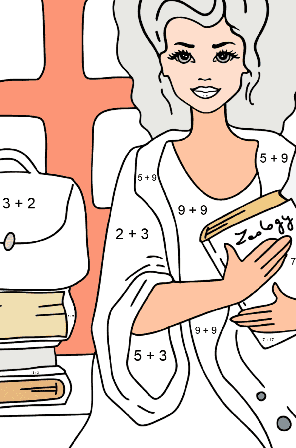Barbie Doll Student coloring page - Math Coloring - Addition for Kids