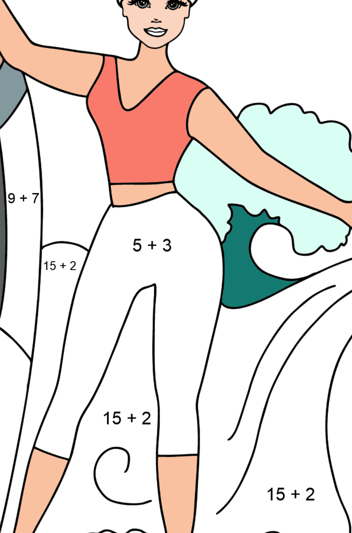 Barbie Surfer Doll coloring page - Math Coloring - Addition for Kids