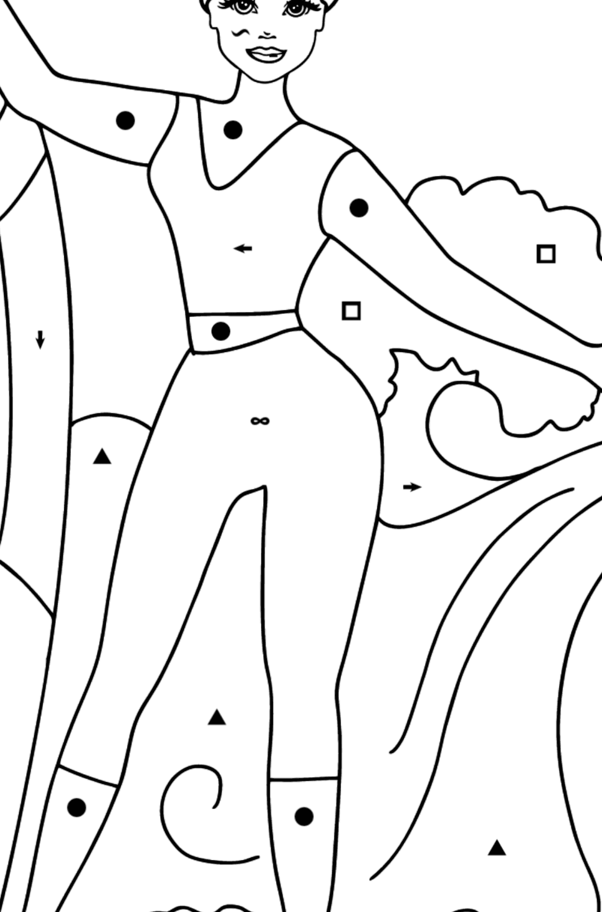 Barbie Surfer Doll coloring page - Coloring by Symbols for Kids