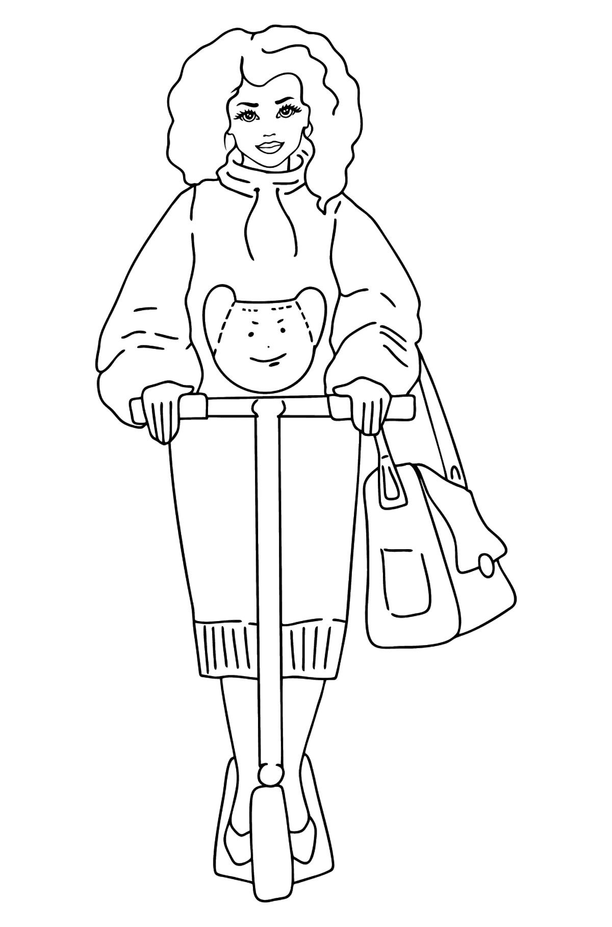 Barbie Doll Riding a Scooter coloring page - Coloring Pages for Kids