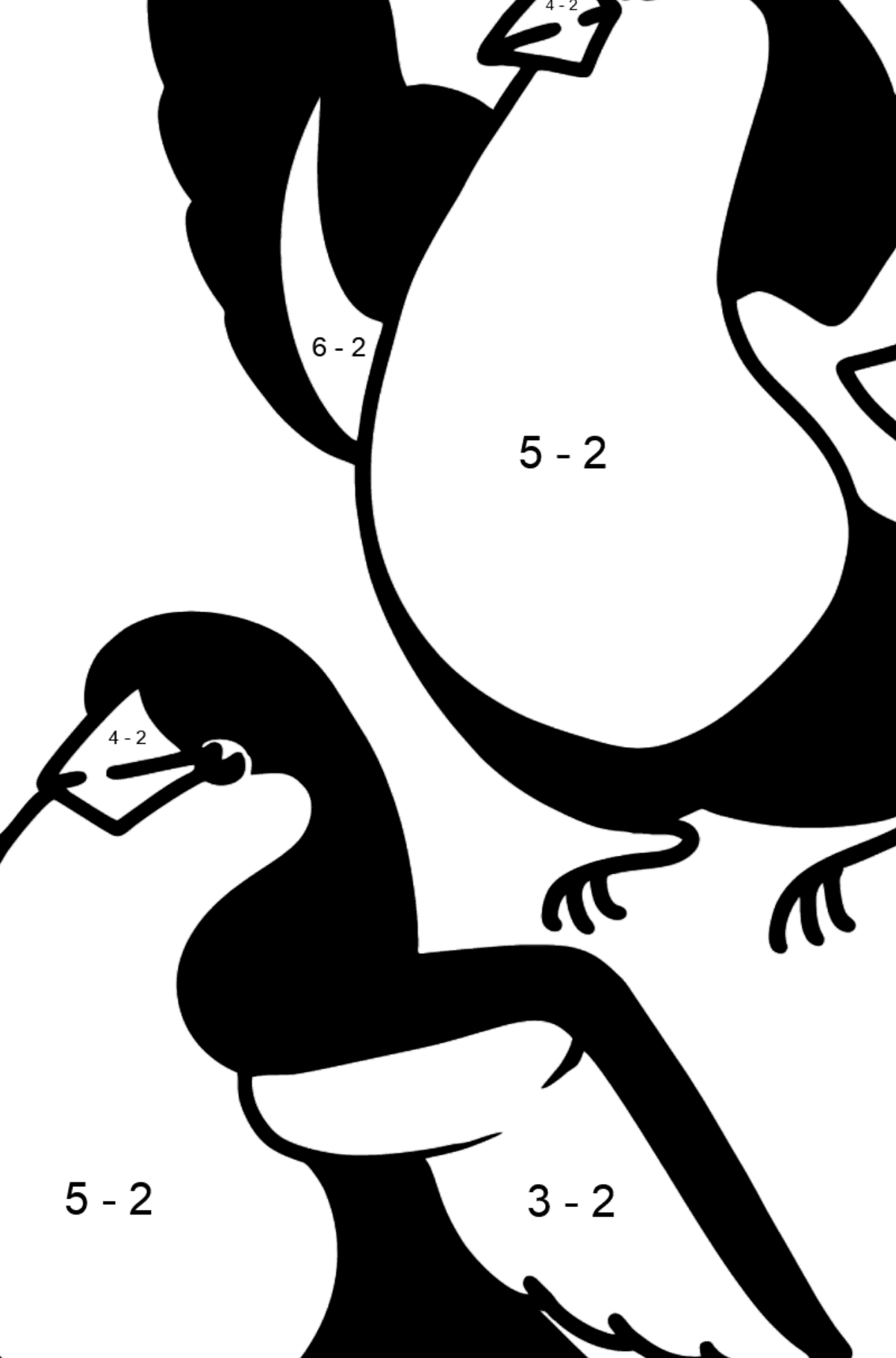 Bullfinches coloring page - Math Coloring - Subtraction for Kids