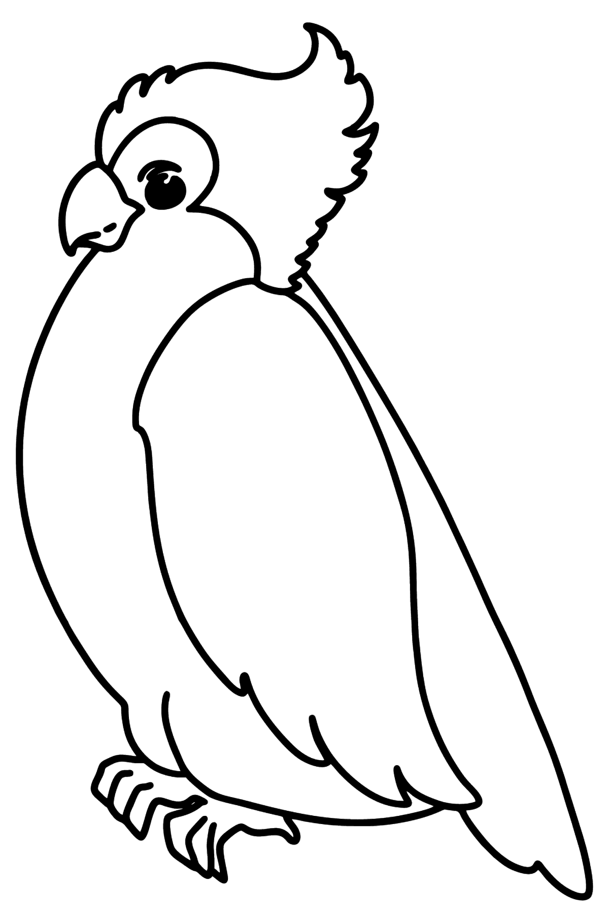 Simple coloring page with a Cockatoo - Coloring Pages for Kids