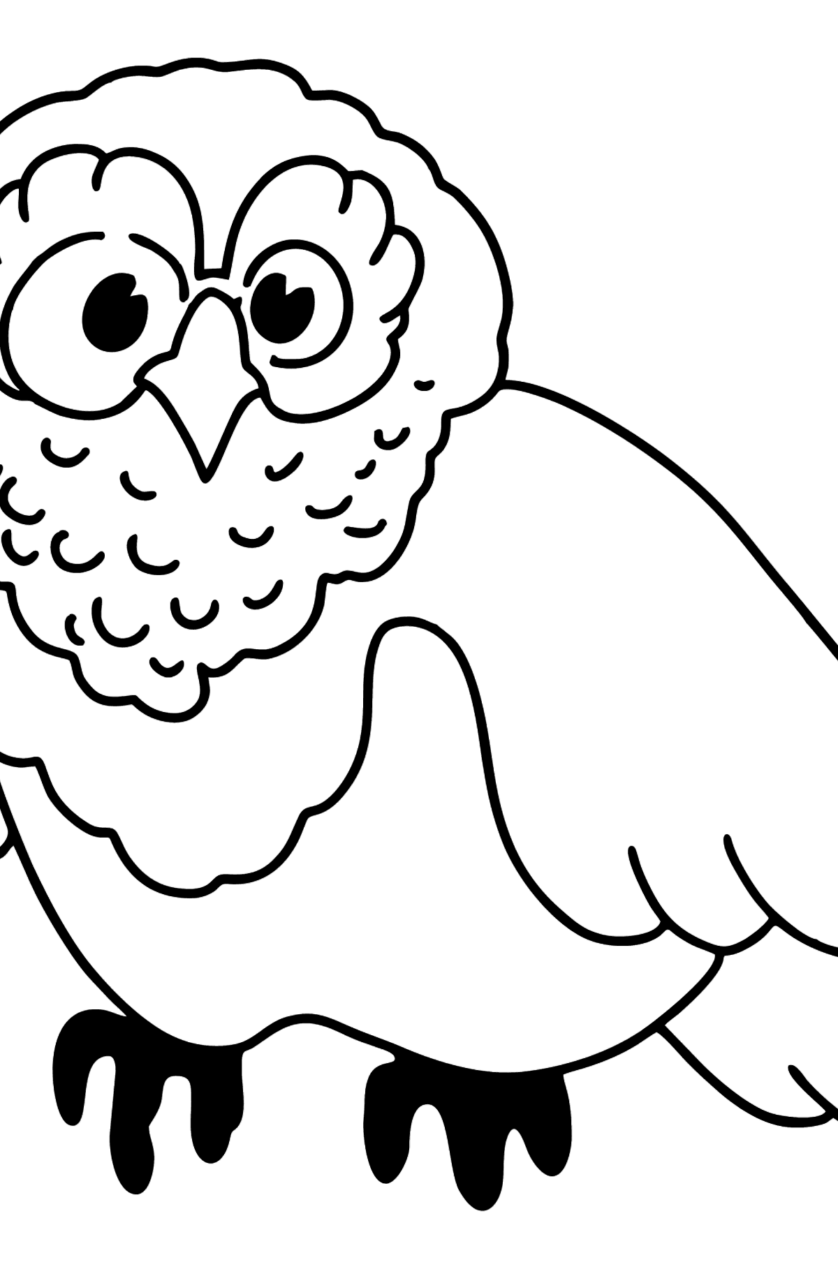 Simple coloring page with a Owl - Coloring Pages for Kids