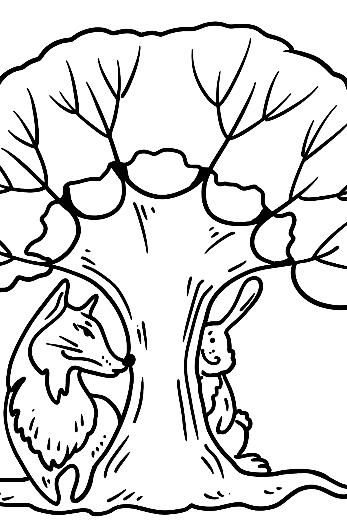 Bunny and Fox coloring page - Coloring Pages for Kids