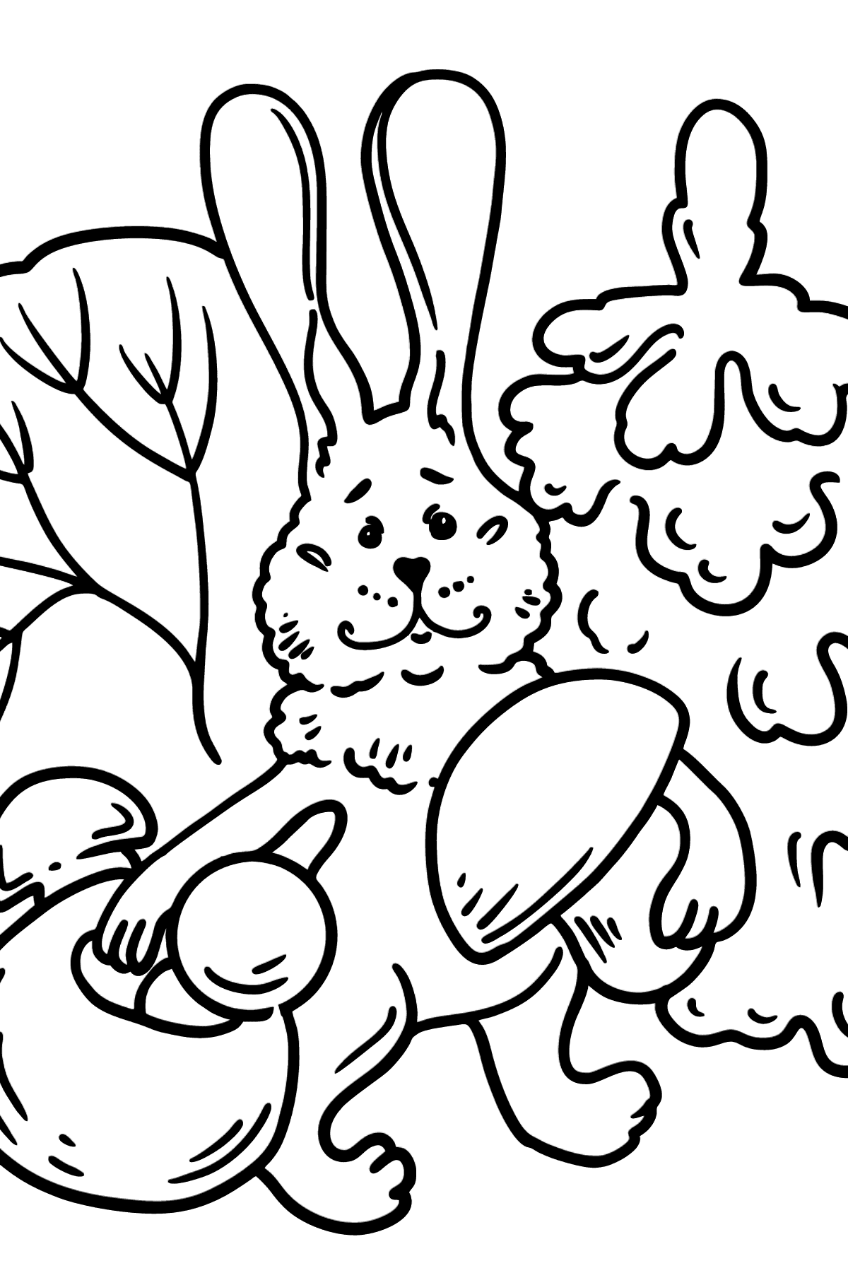 Bunny in the Forest coloring page - Coloring Pages for Kids