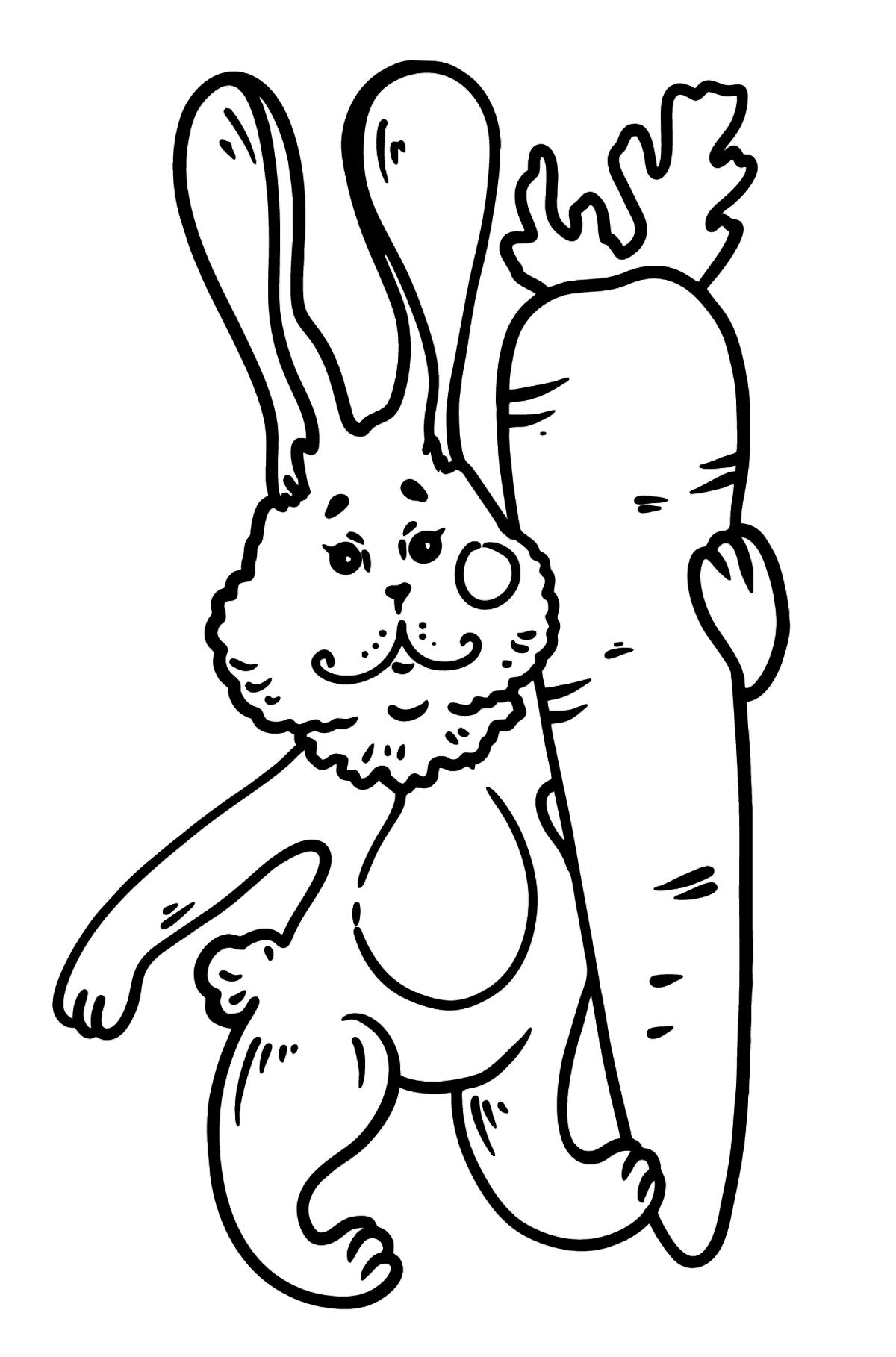 Раскраска зайчик с морковкой - Картинки для Детей