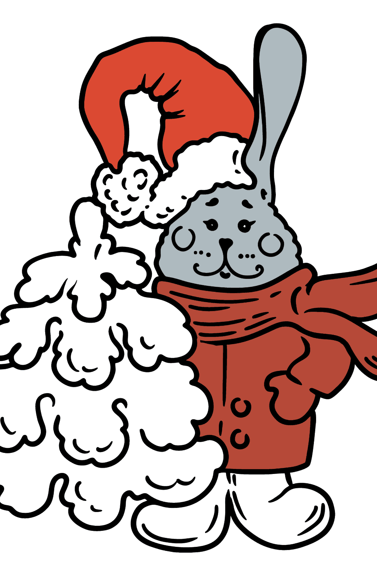 Christmas Bunny coloring page - Coloring Pages for Kids