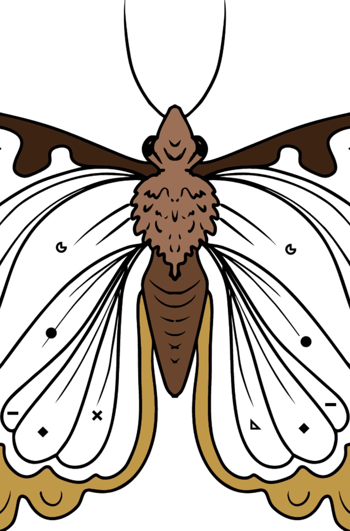 Раскраска бабочка крапивница - Раскраска по Символам и Геометрическим Фигурам для Детей