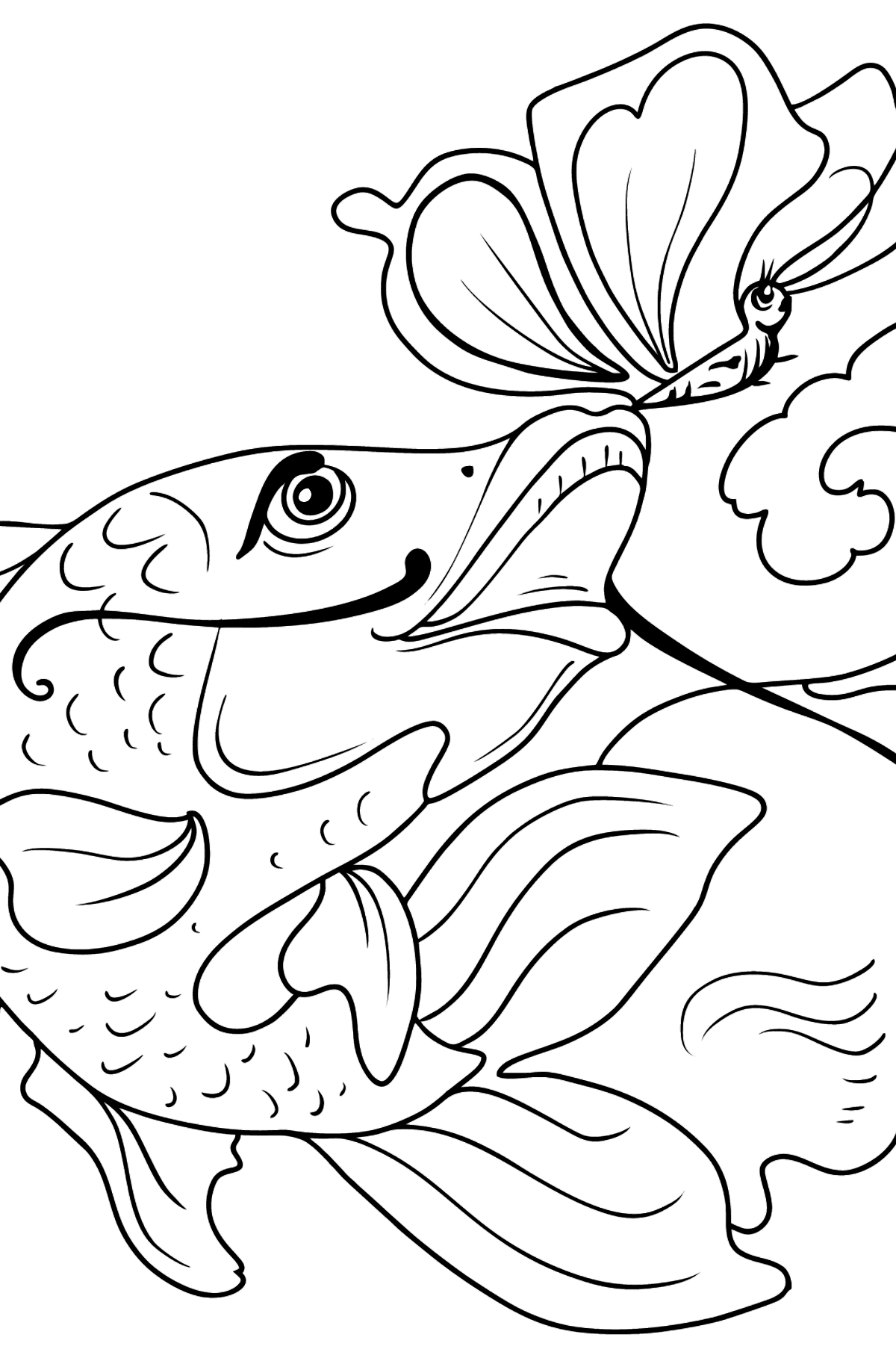 Fish and Butterfly coloring page - Coloring Pages for Kids