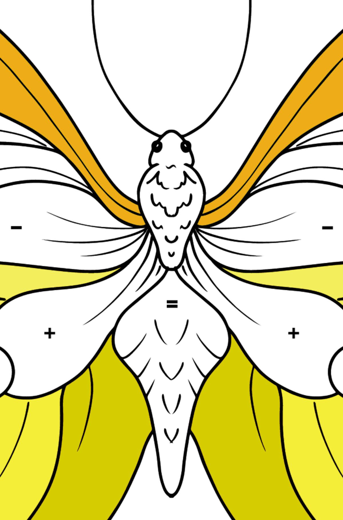Раскраска бабочка лимонница - Раскраска по Символам для Детей