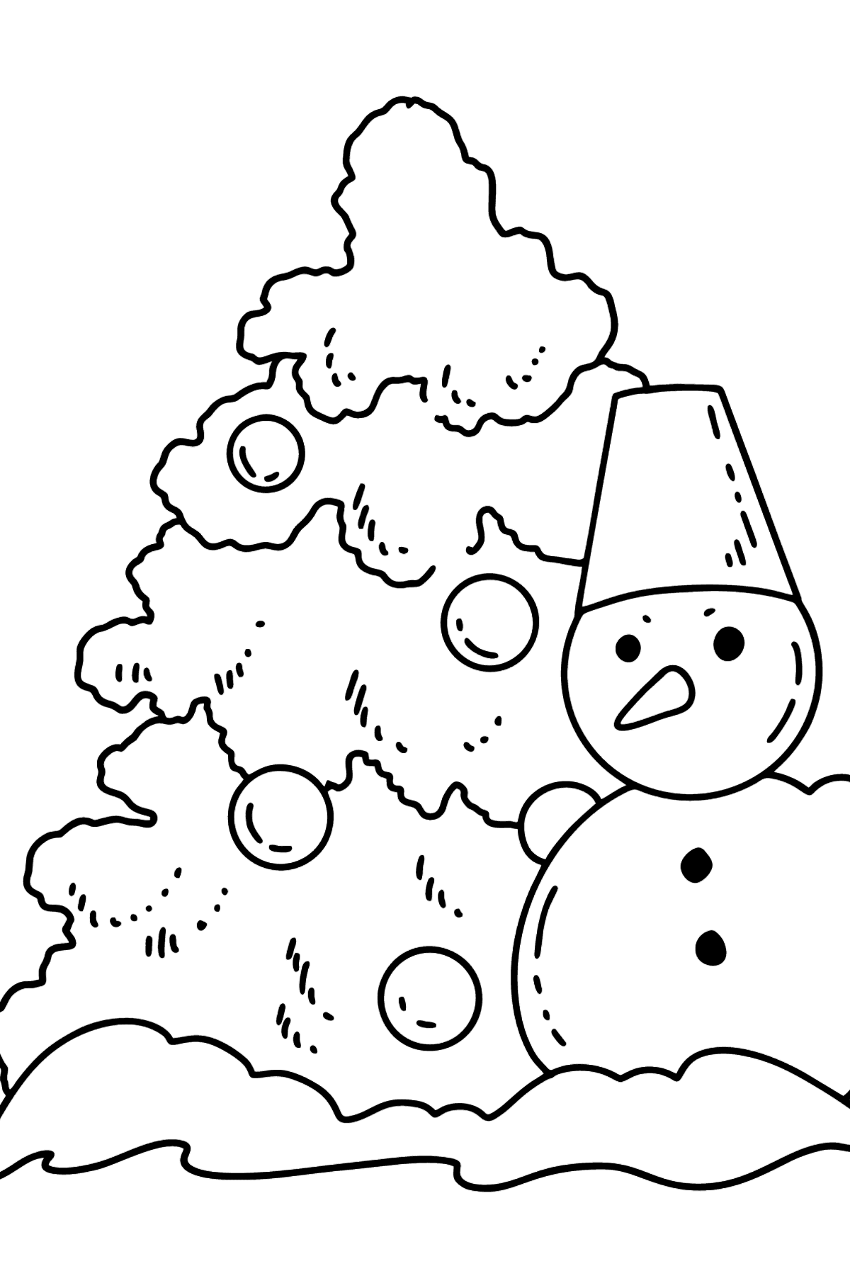 Christmas Tree and Snowman coloring page - Coloring Pages for Kids