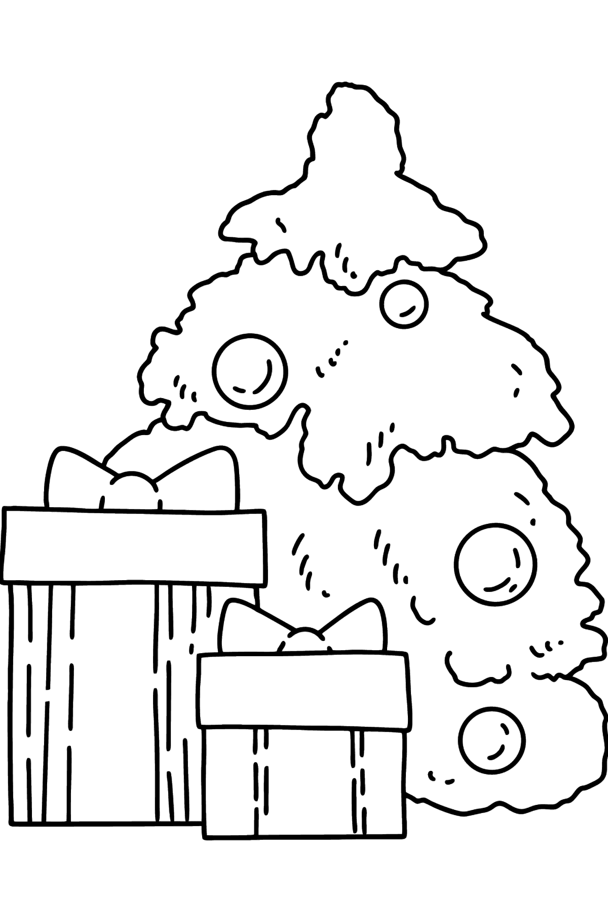 Gifts under the Christmas Tree coloring page - Coloring Pages for Kids