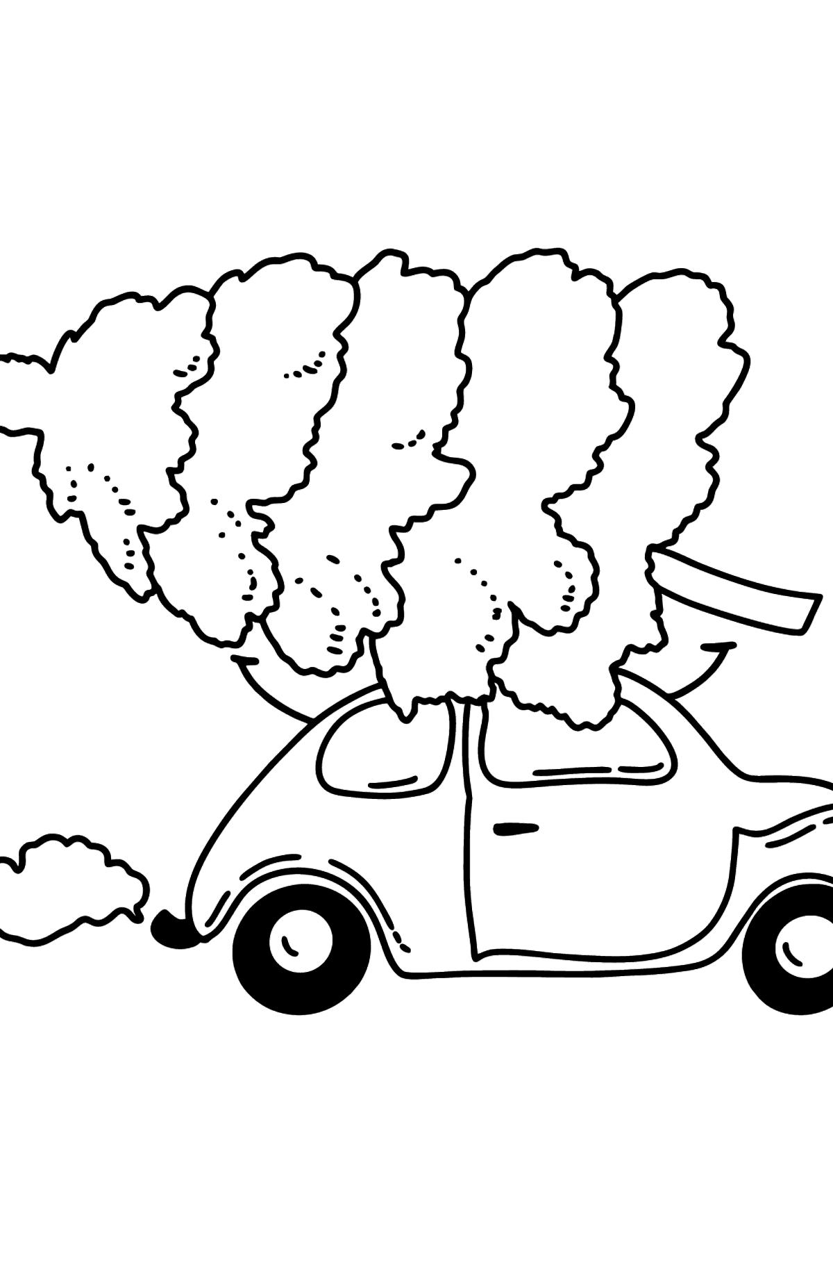 Раскраска елочка на машине - Картинки для Детей