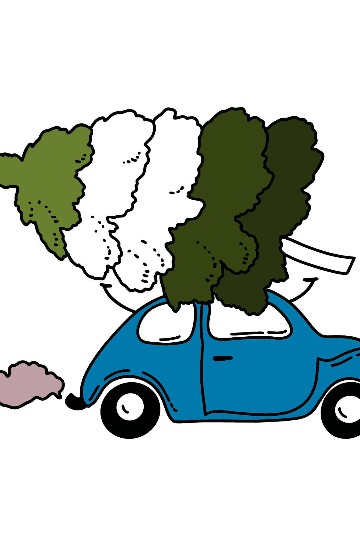 Coloring page - Christmas tree on the car - Coloring Pages for Kids