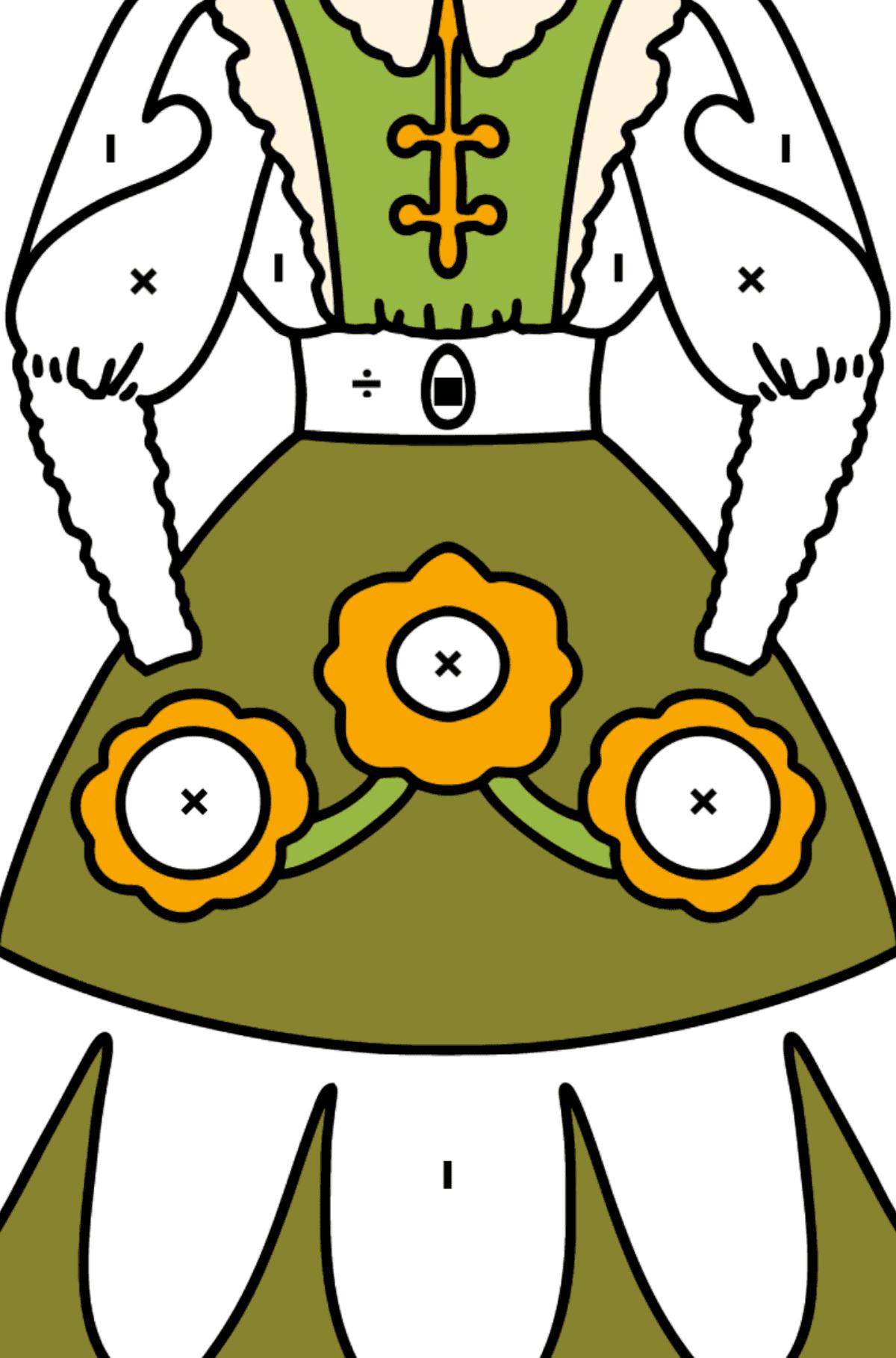 Платье раскраска - Раскраска по Символам и Геометрическим Фигурам для Детей