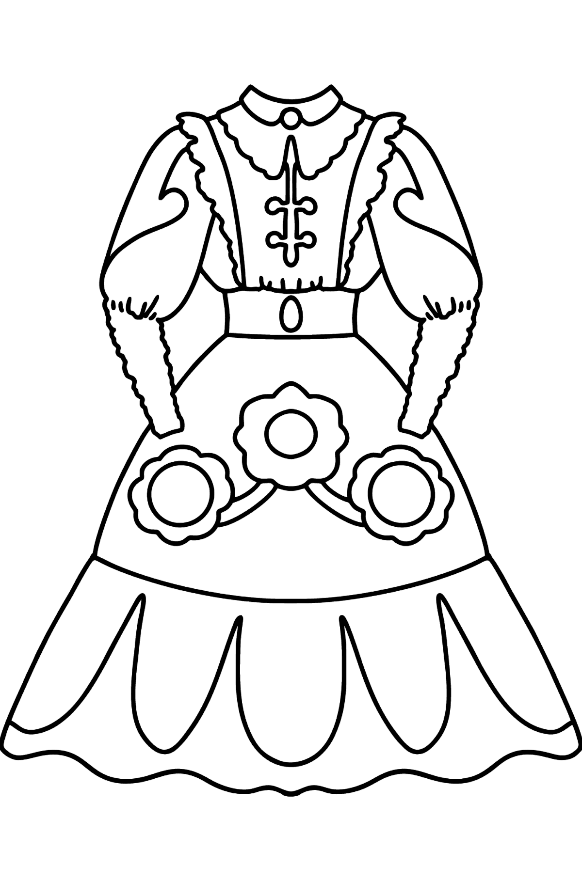 Coloring page with dress - Coloring Pages for Kids