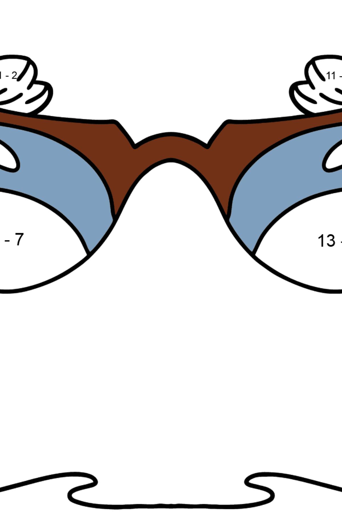 Очки раскраска - Математическая Раскраска - Вычитание для Детей