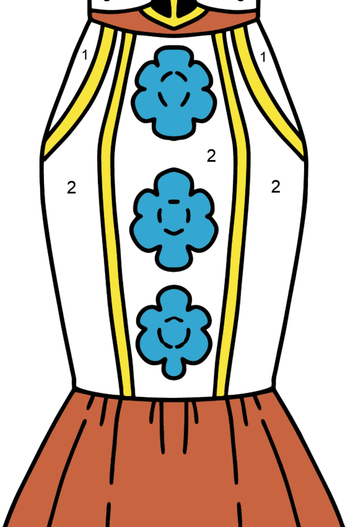 Раскраска юбка - Раскраска по Номерам для Детей