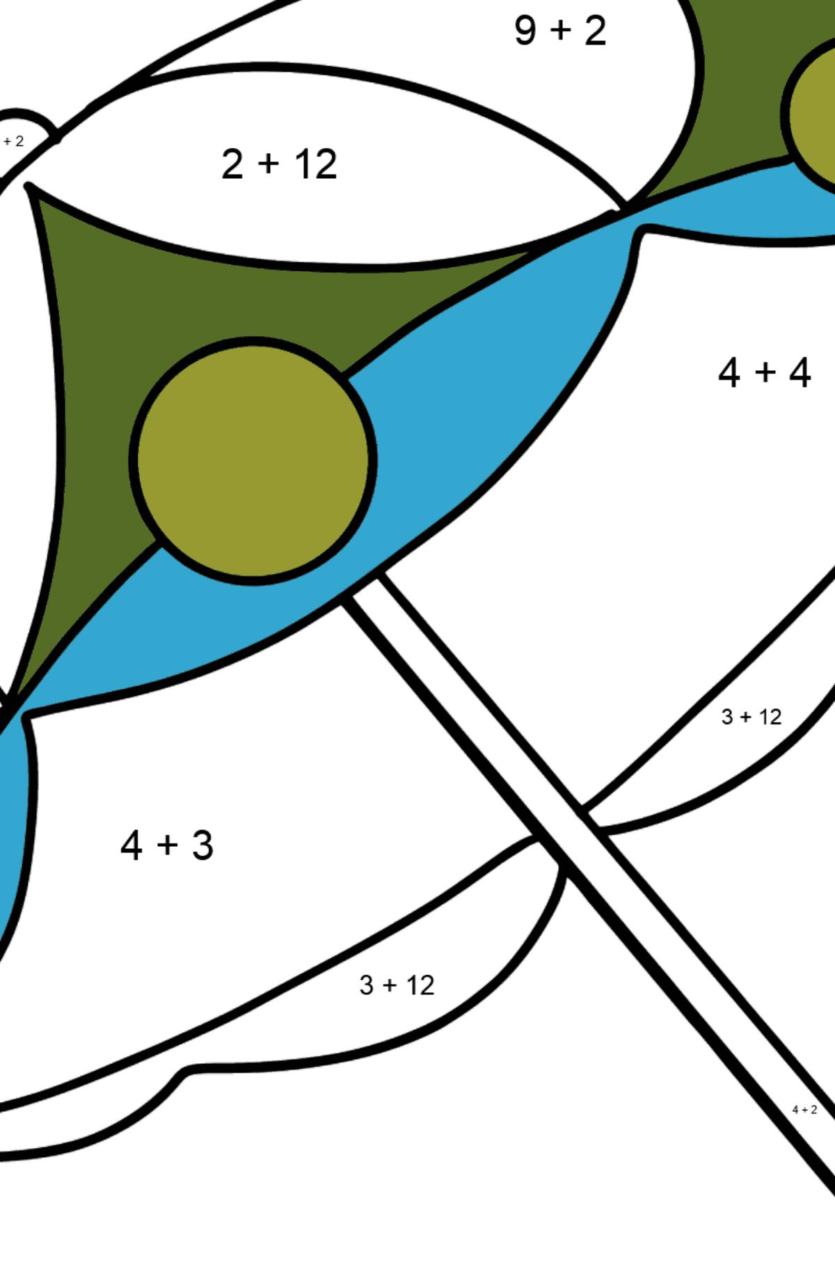 Раскраска зонт - Математическая Раскраска - Сложение для Детей