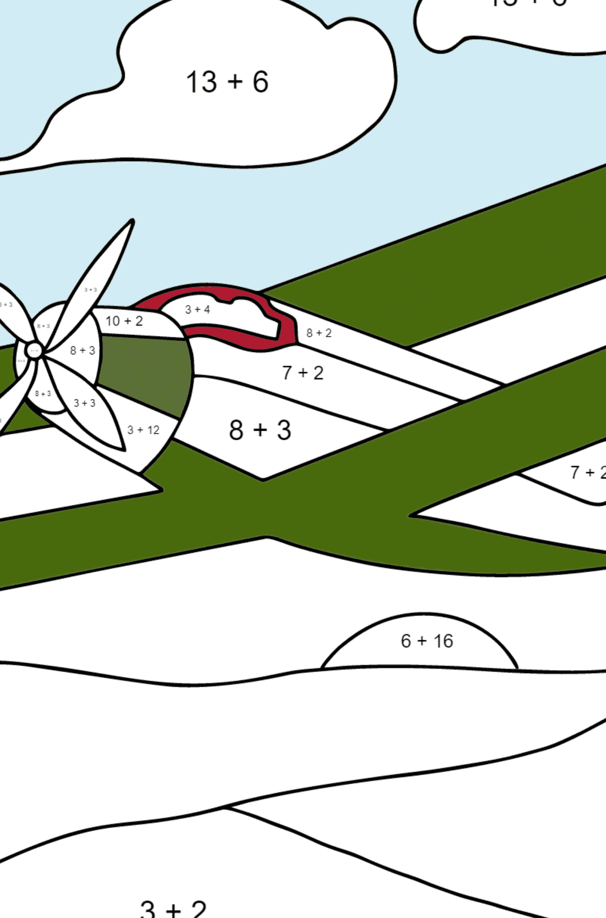 Coloring Page - A Biplane - Math Coloring - Addition for Children