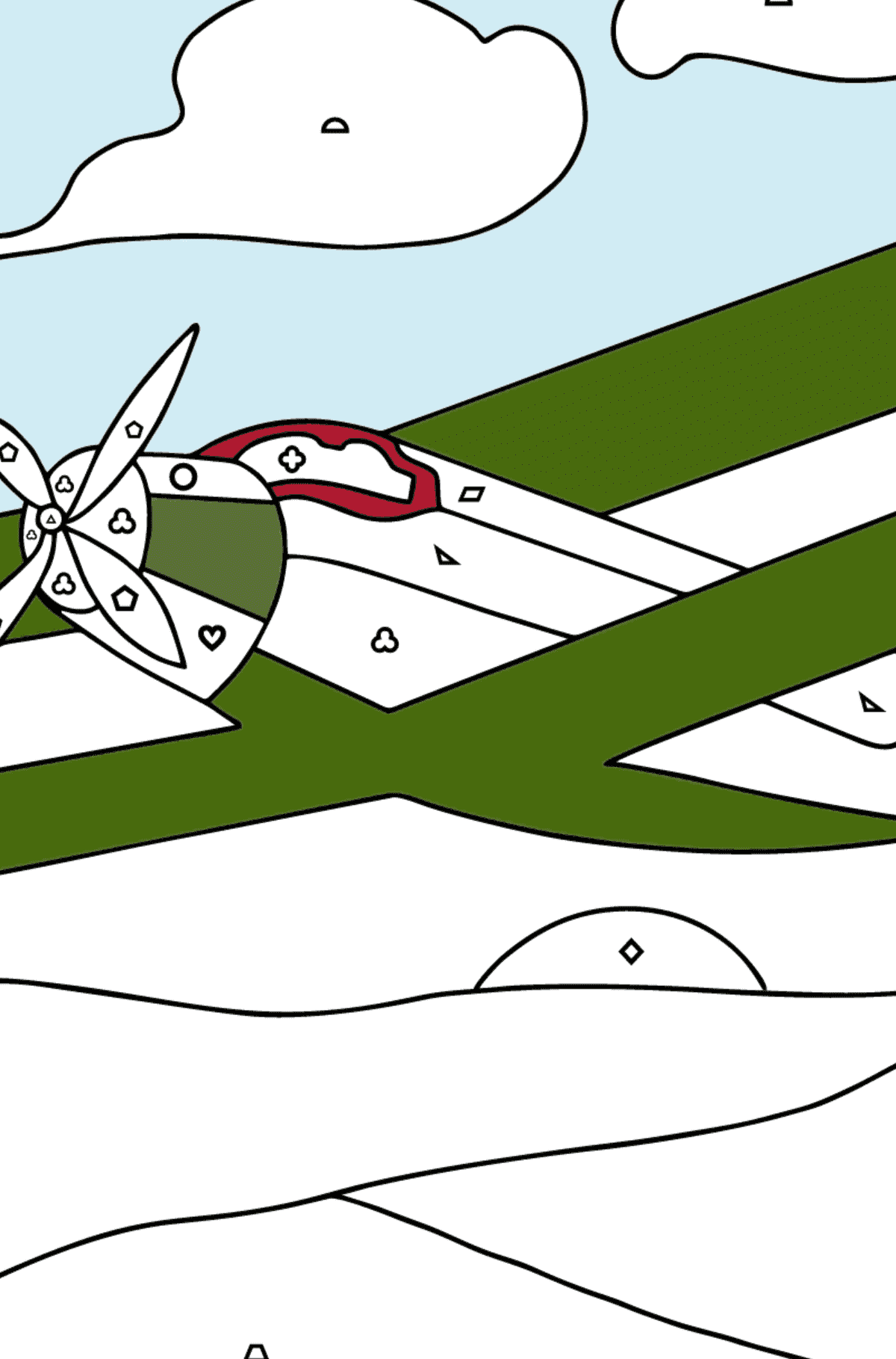 Coloring Page - A Biplane - Coloring by Geometric Shapes for Children