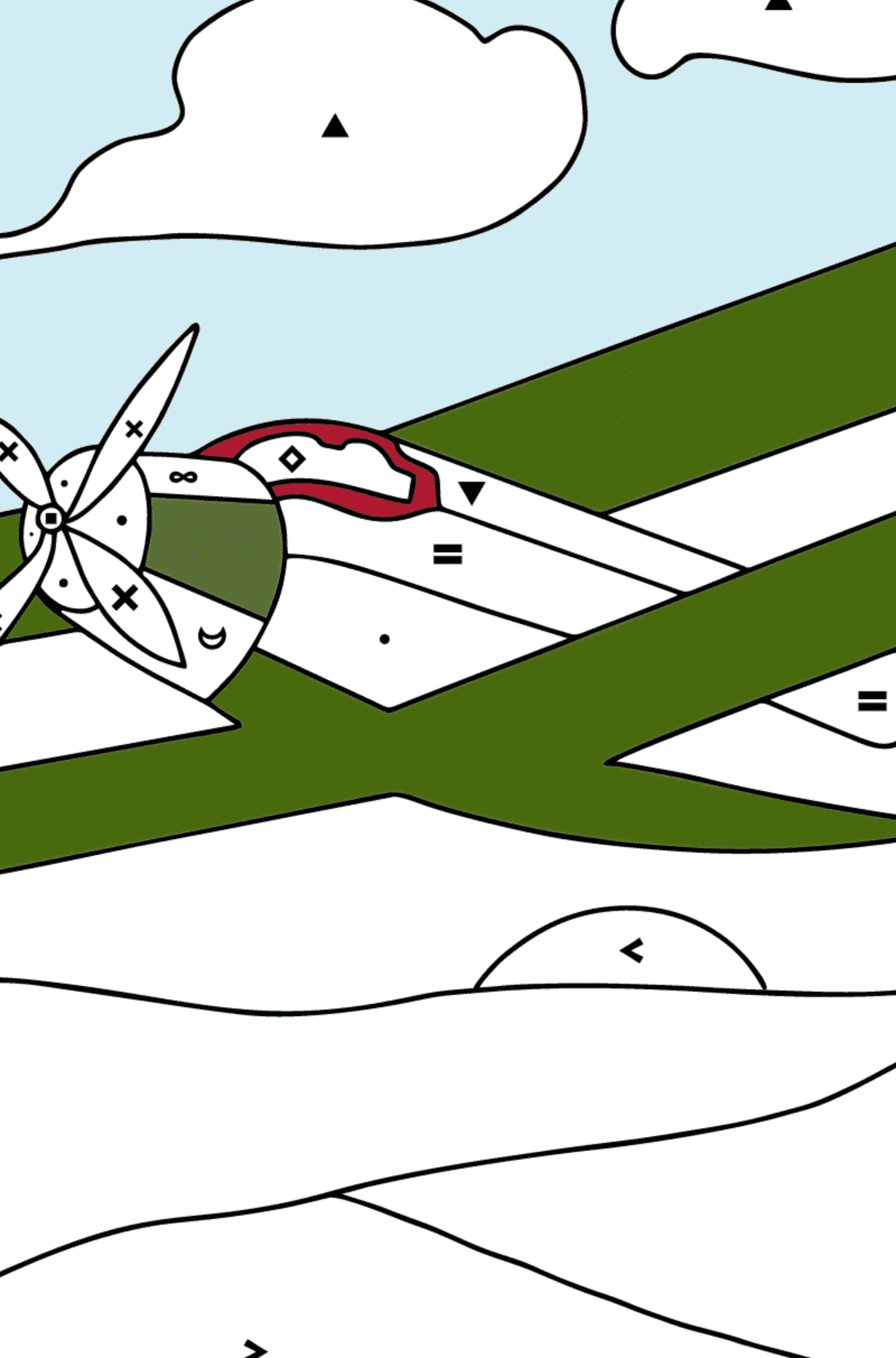 Coloring Page - A Biplane - Coloring by Symbols for Children