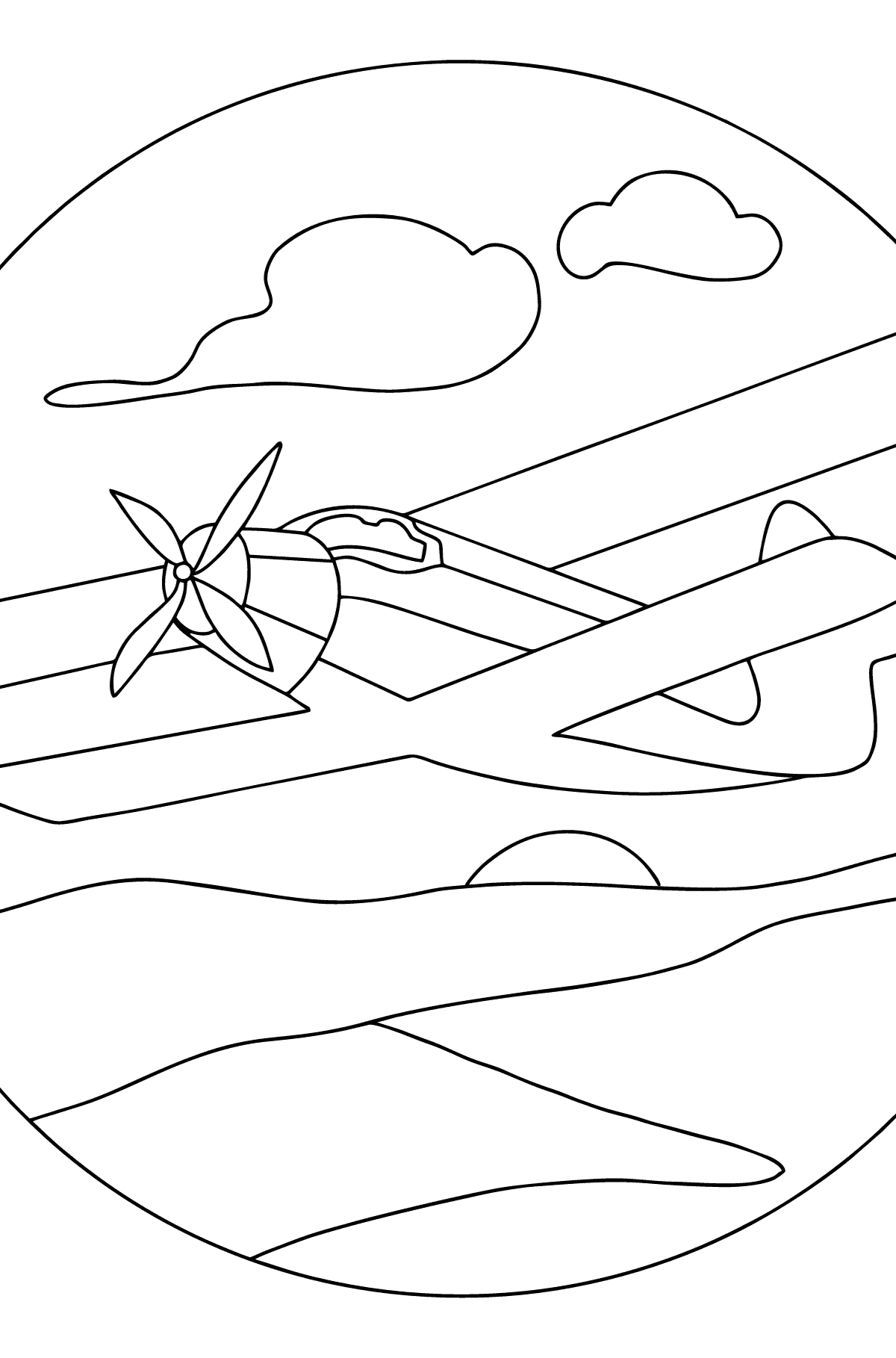Coloring Page - A Biplane - Coloring Pages for Kids