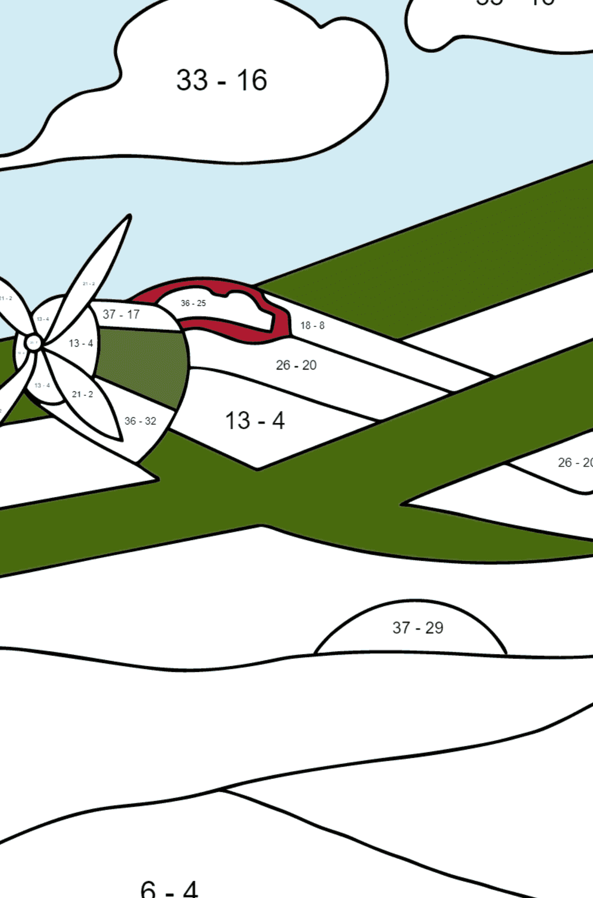 Coloring Page - A Biplane - Math Coloring - Subtraction for Kids