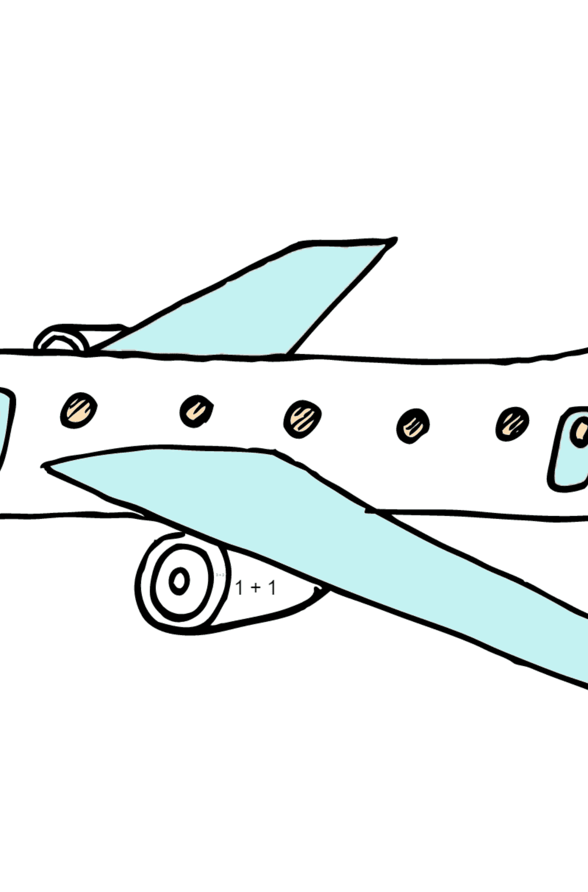 Coloring Page - A Commercial Jet - Math Coloring - Addition for Children