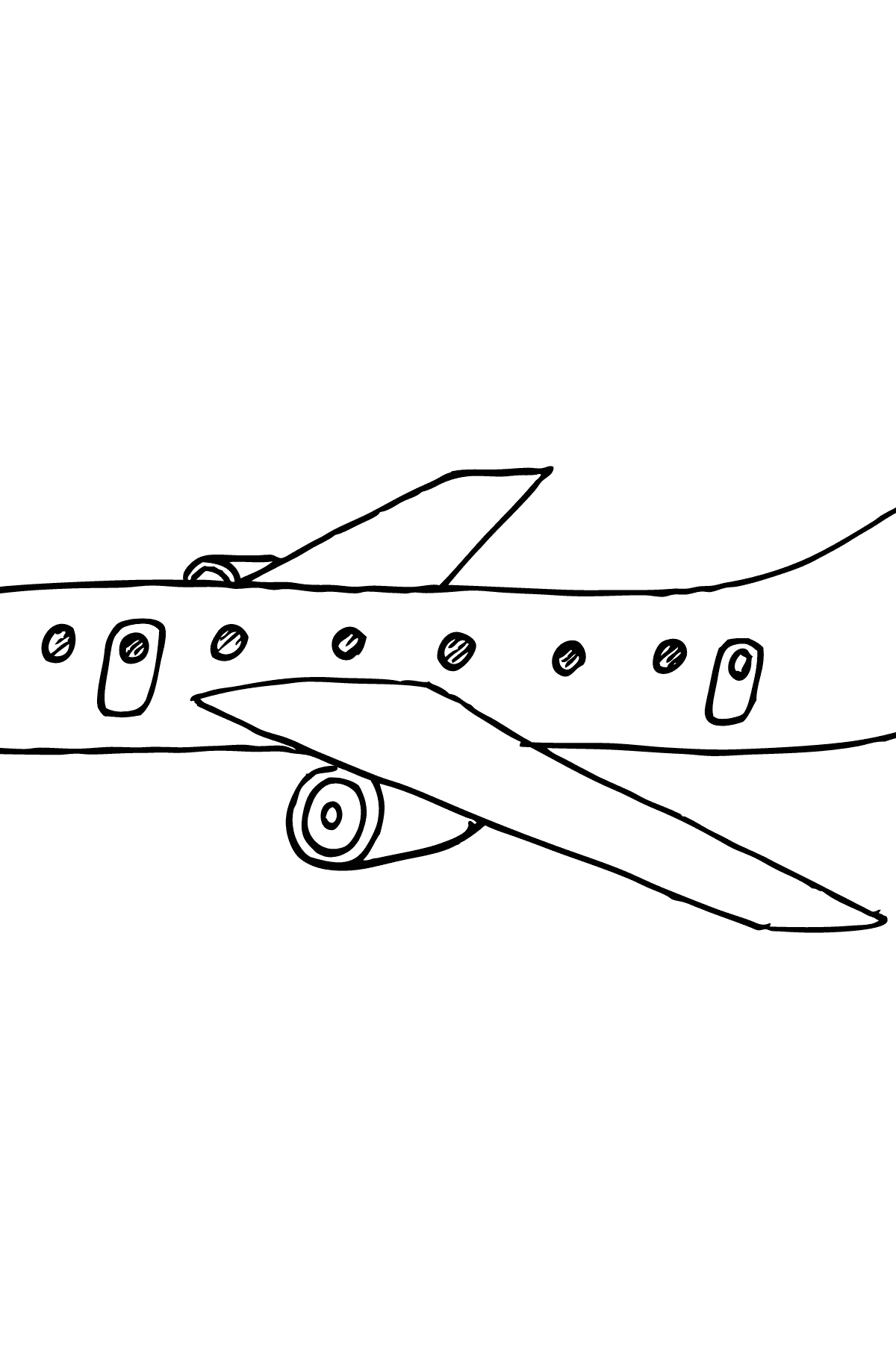 Coloring Page - A Commercial Jet - Coloring Pages for Kids