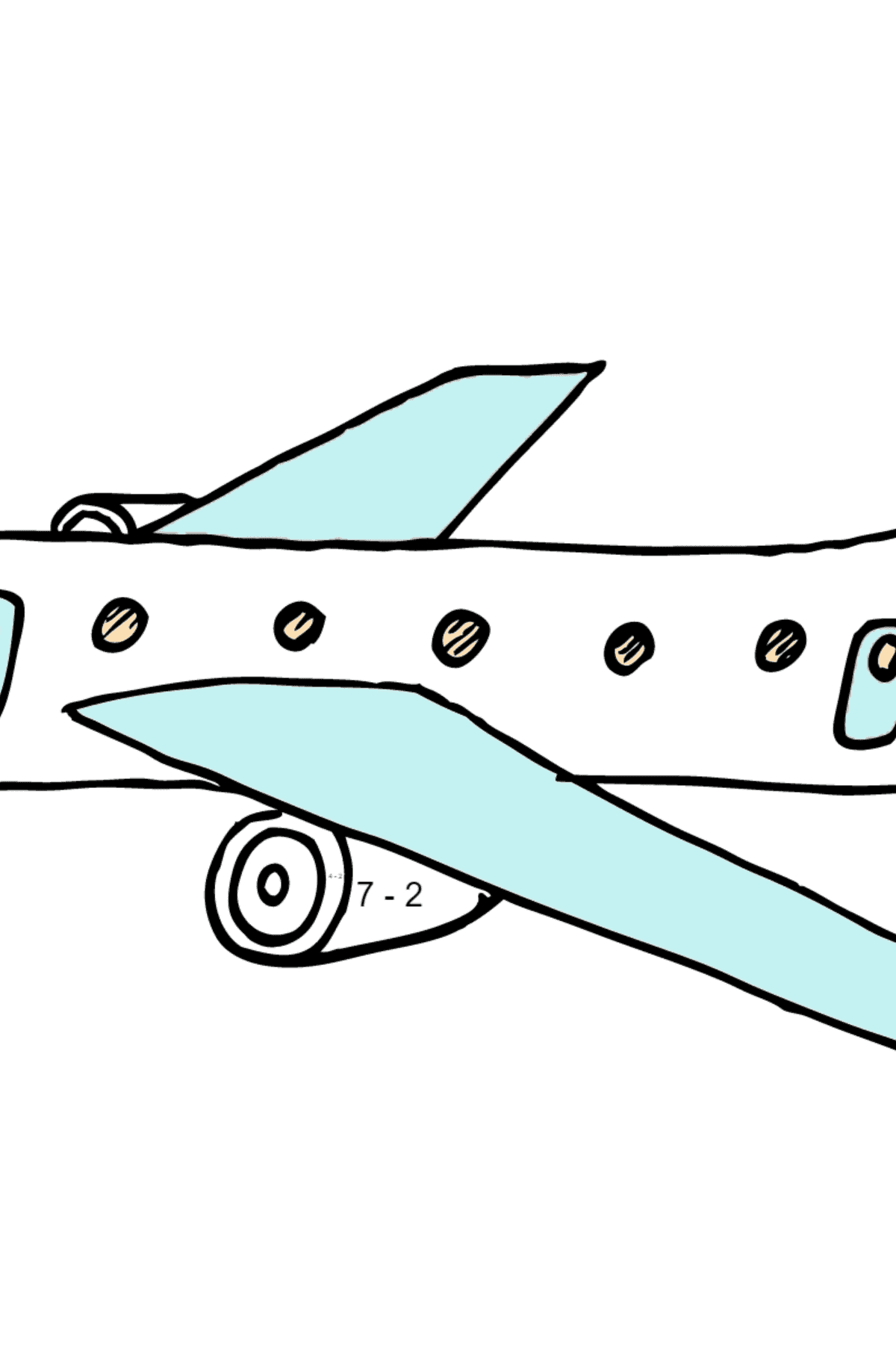 Раскраска пассажирский самолет - Математическая Раскраска - Вычитание для Детей