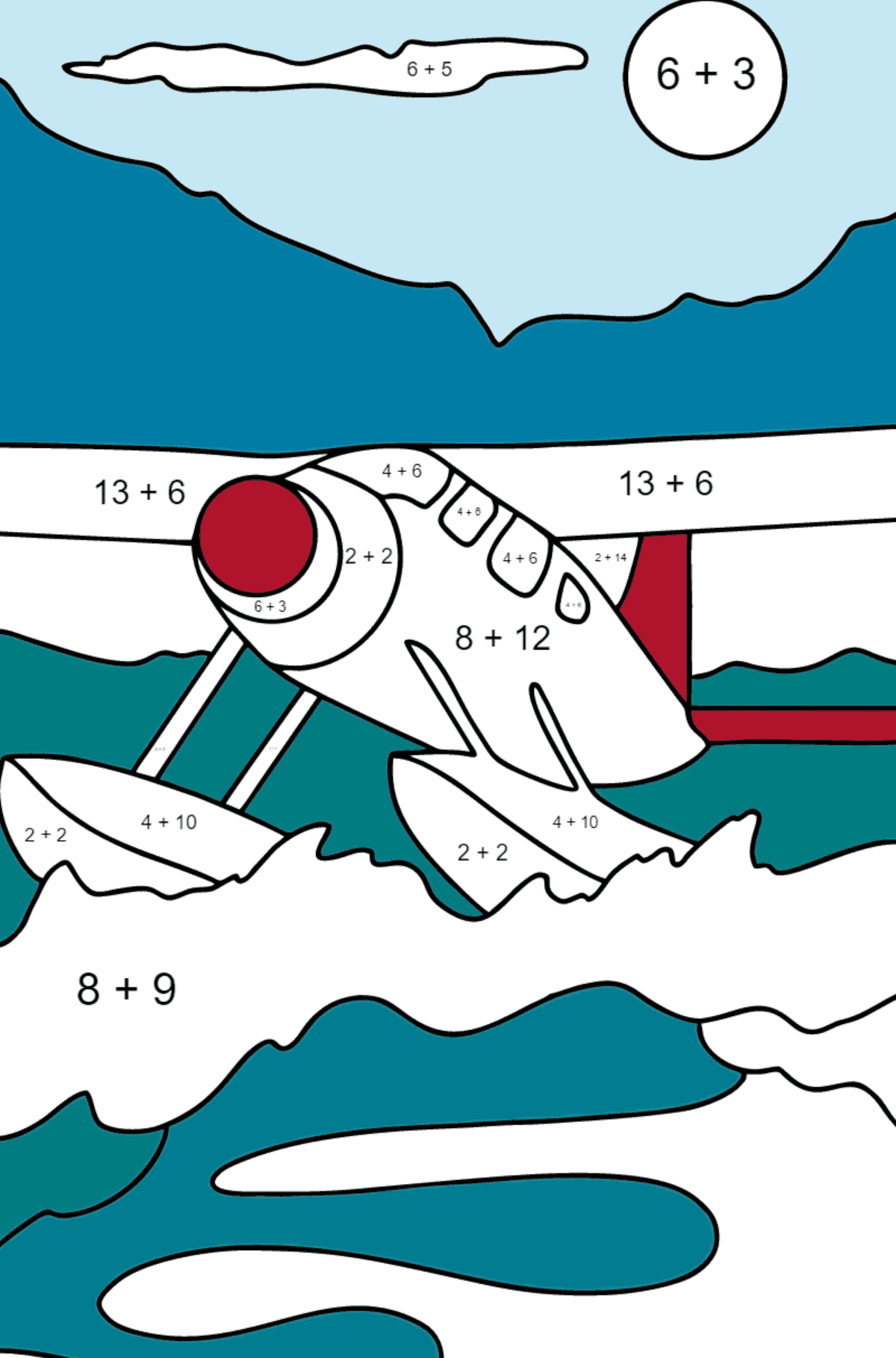 Coloring Page - A Hydroplane - Math Coloring - Addition for Children