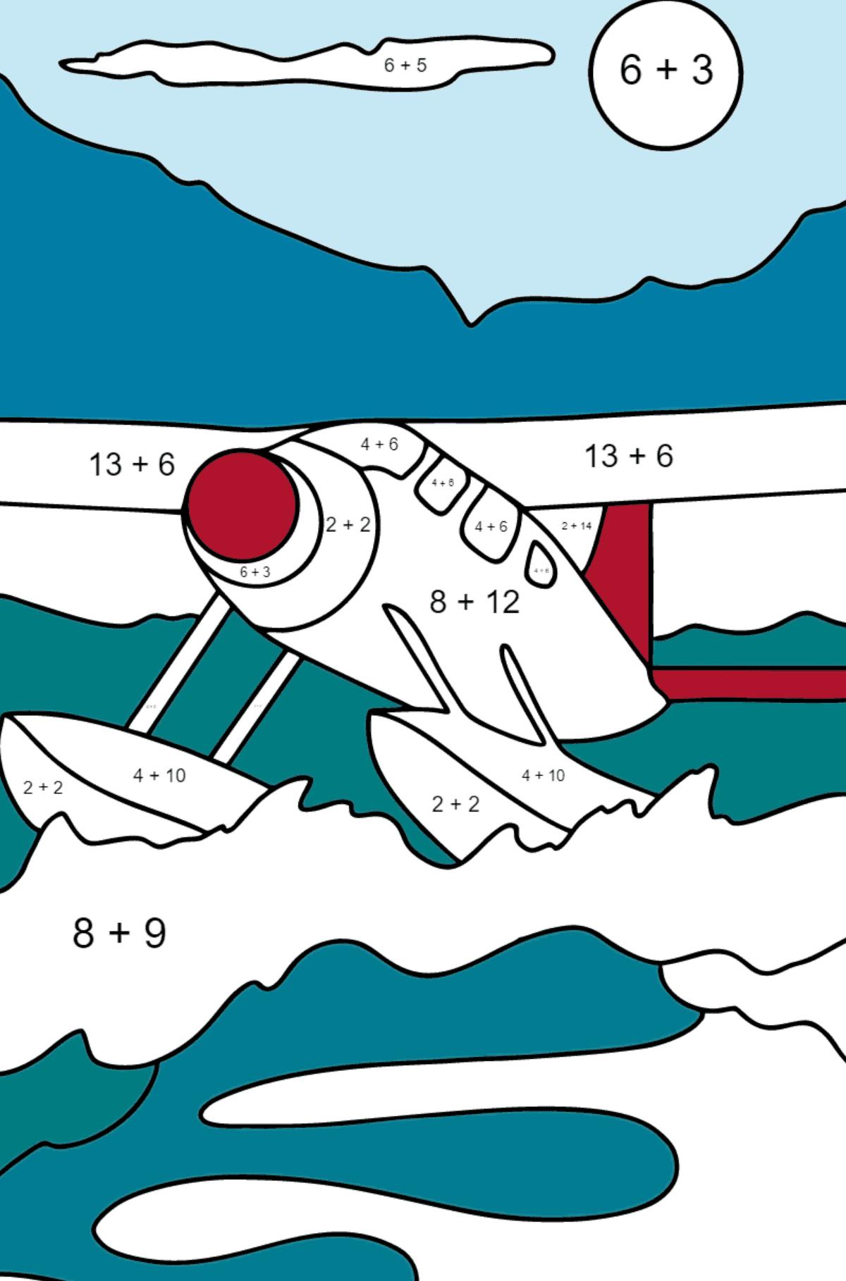 Раскраска гидросамолет - Математическая Раскраска - Сложение для Детей
