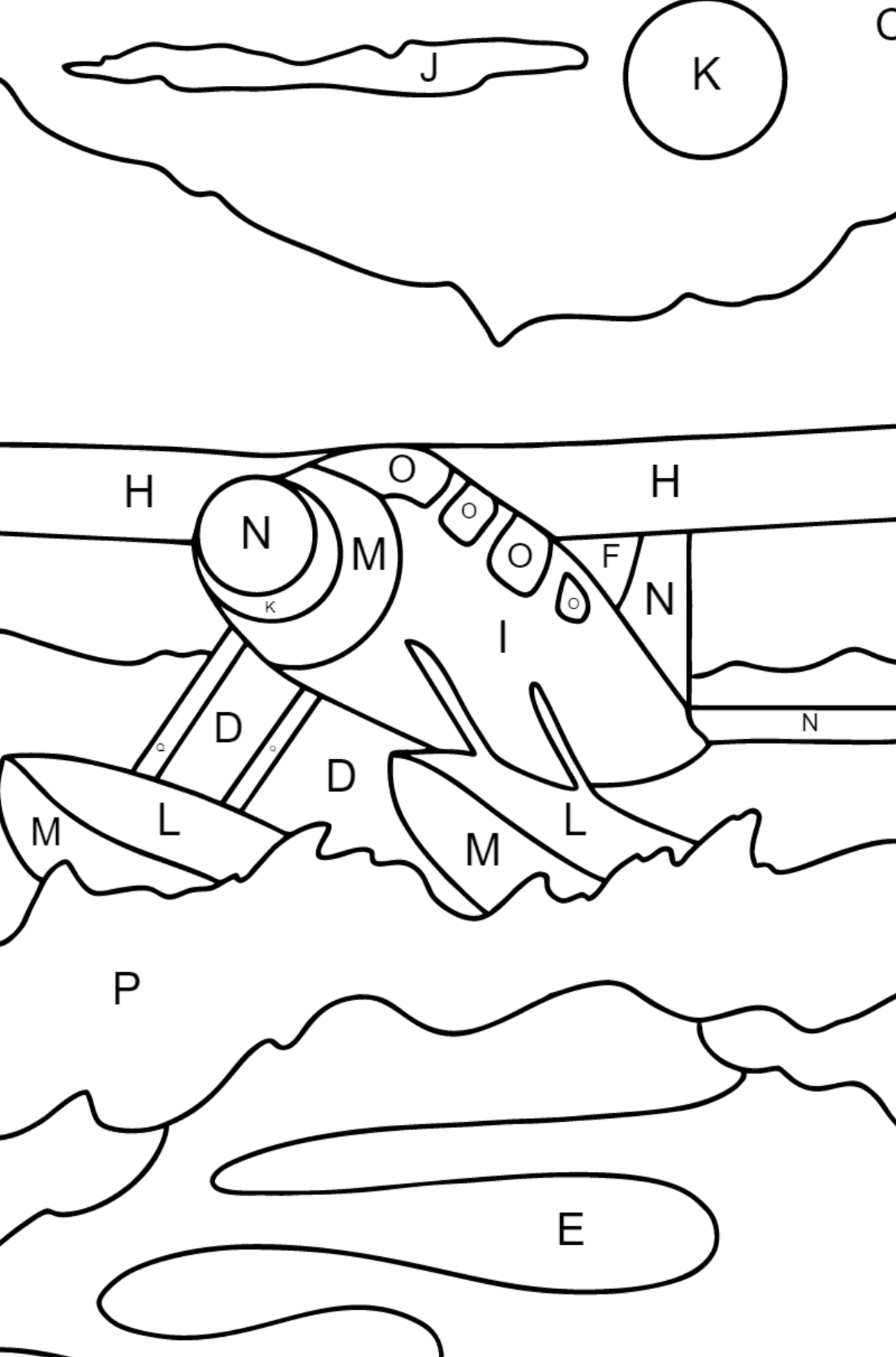 Coloring Page - A Hydroplane - Coloring by Letters for Children