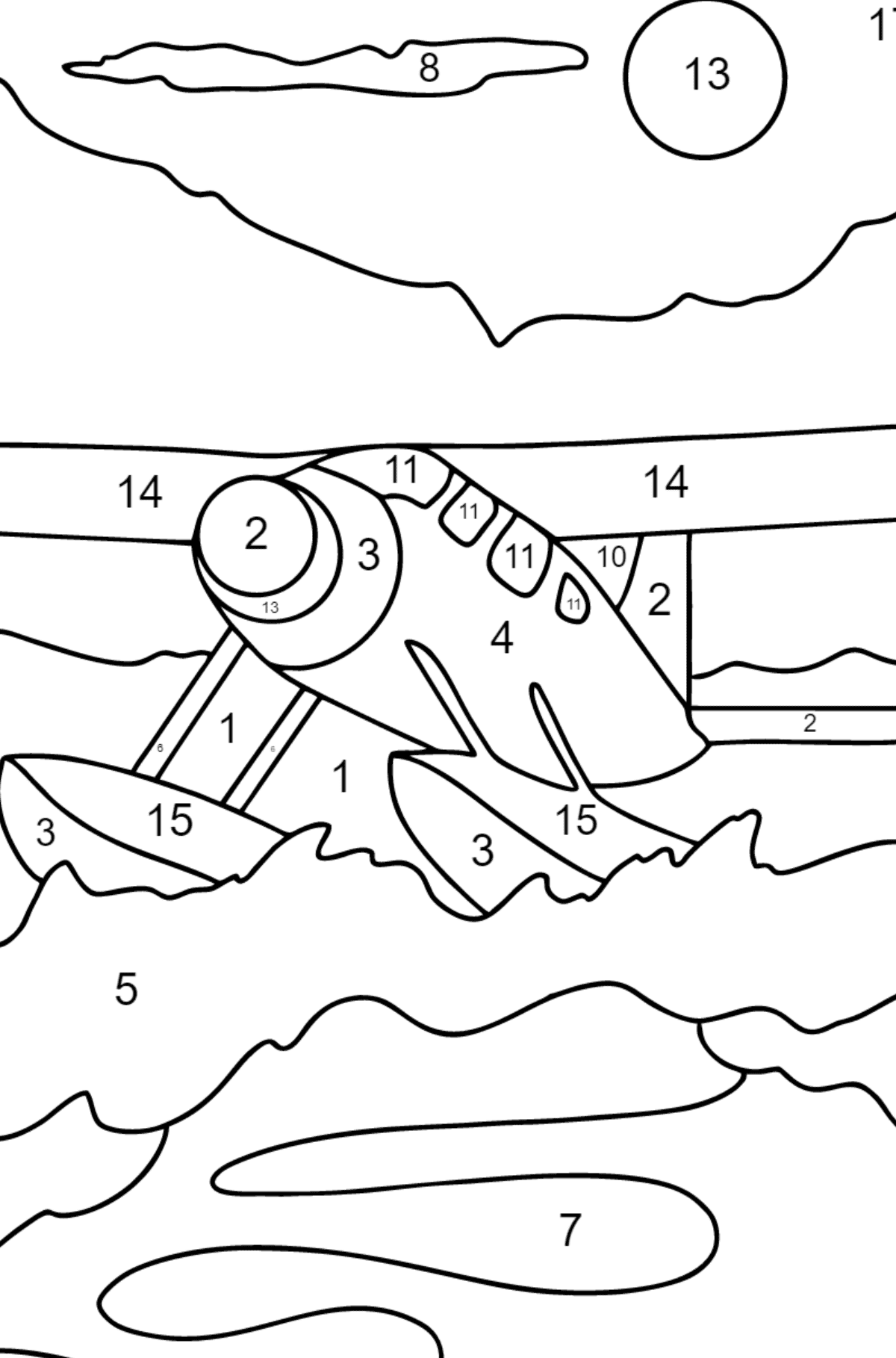 Coloring Page - A Hydroplane - Coloring by Numbers for Kids