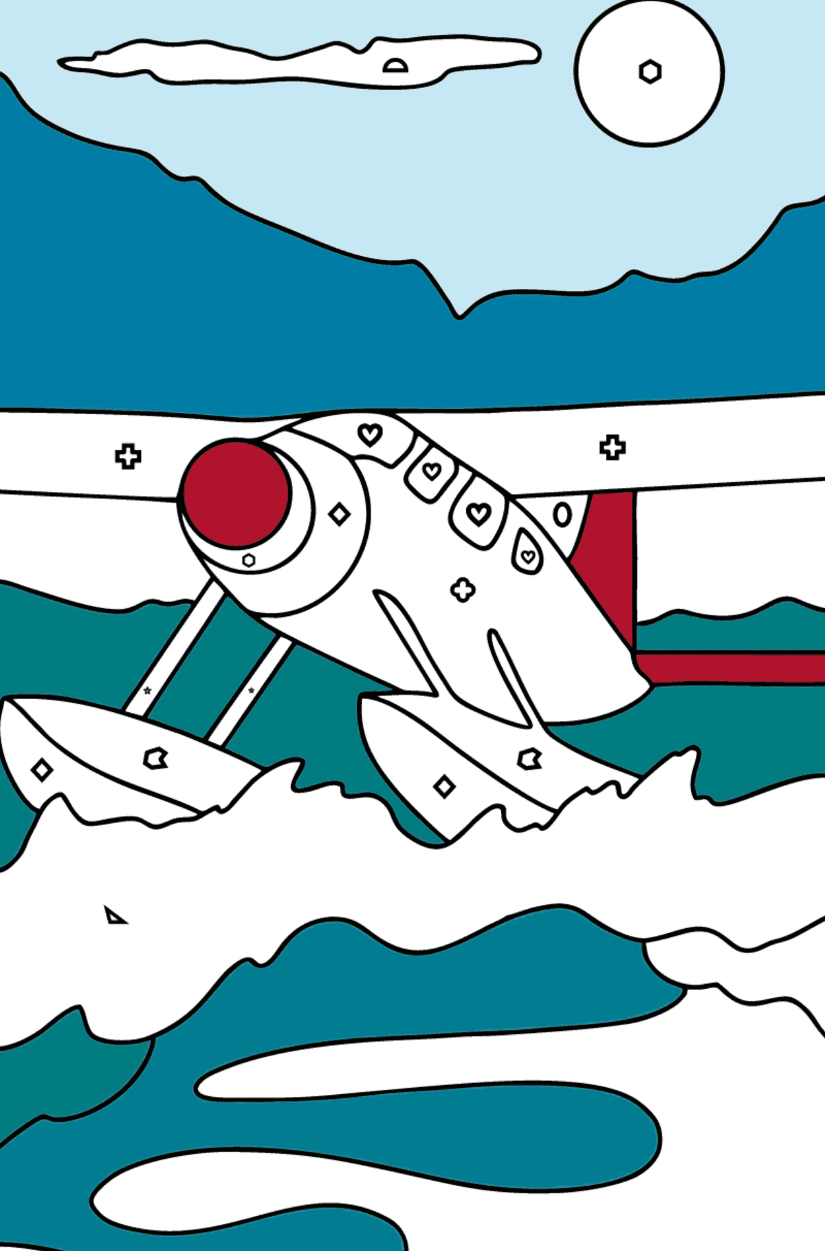 Coloring Page - A Hydroplane - Coloring by Geometric Shapes for Kids